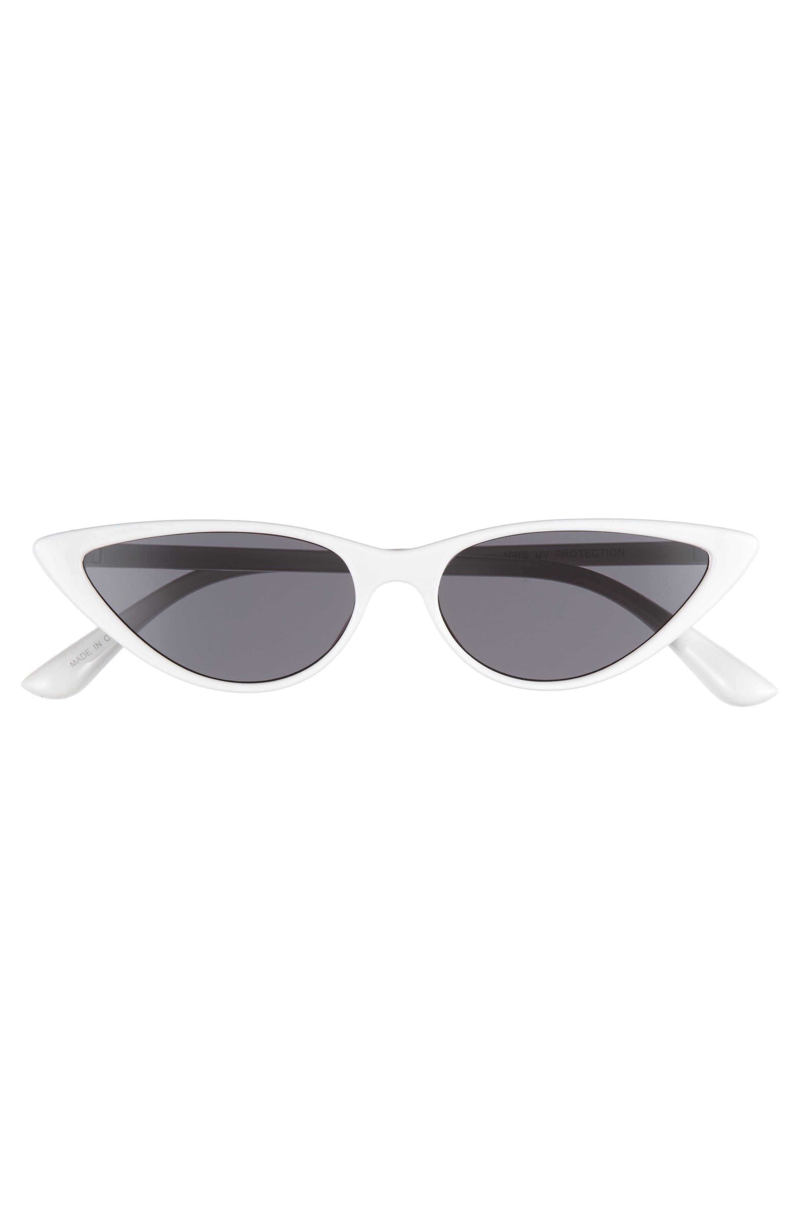 55mm Cat Eye Sunglasses,                             Alternate thumbnail 3, color,                             WHITE