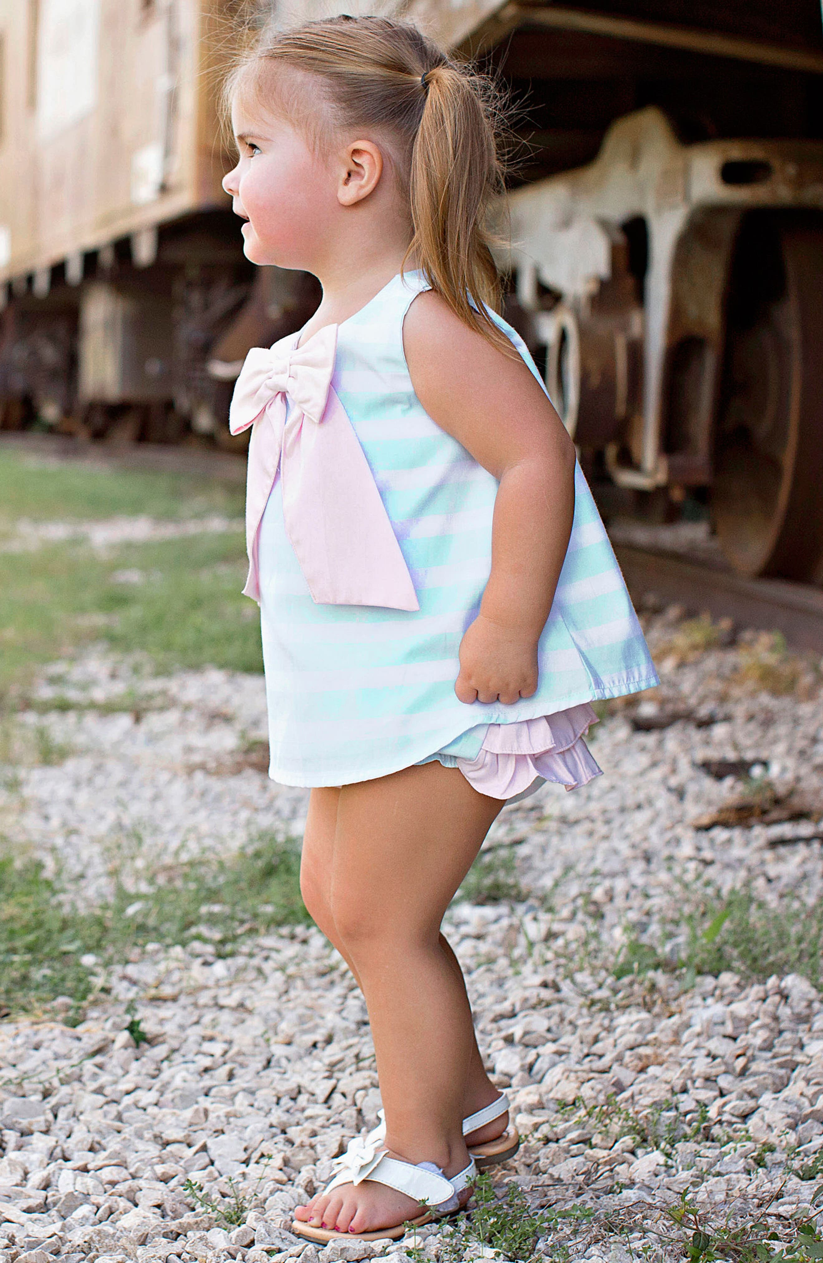 Stripe Swing Top & Bloomers Set,                             Alternate thumbnail 3, color,                             AQUA
