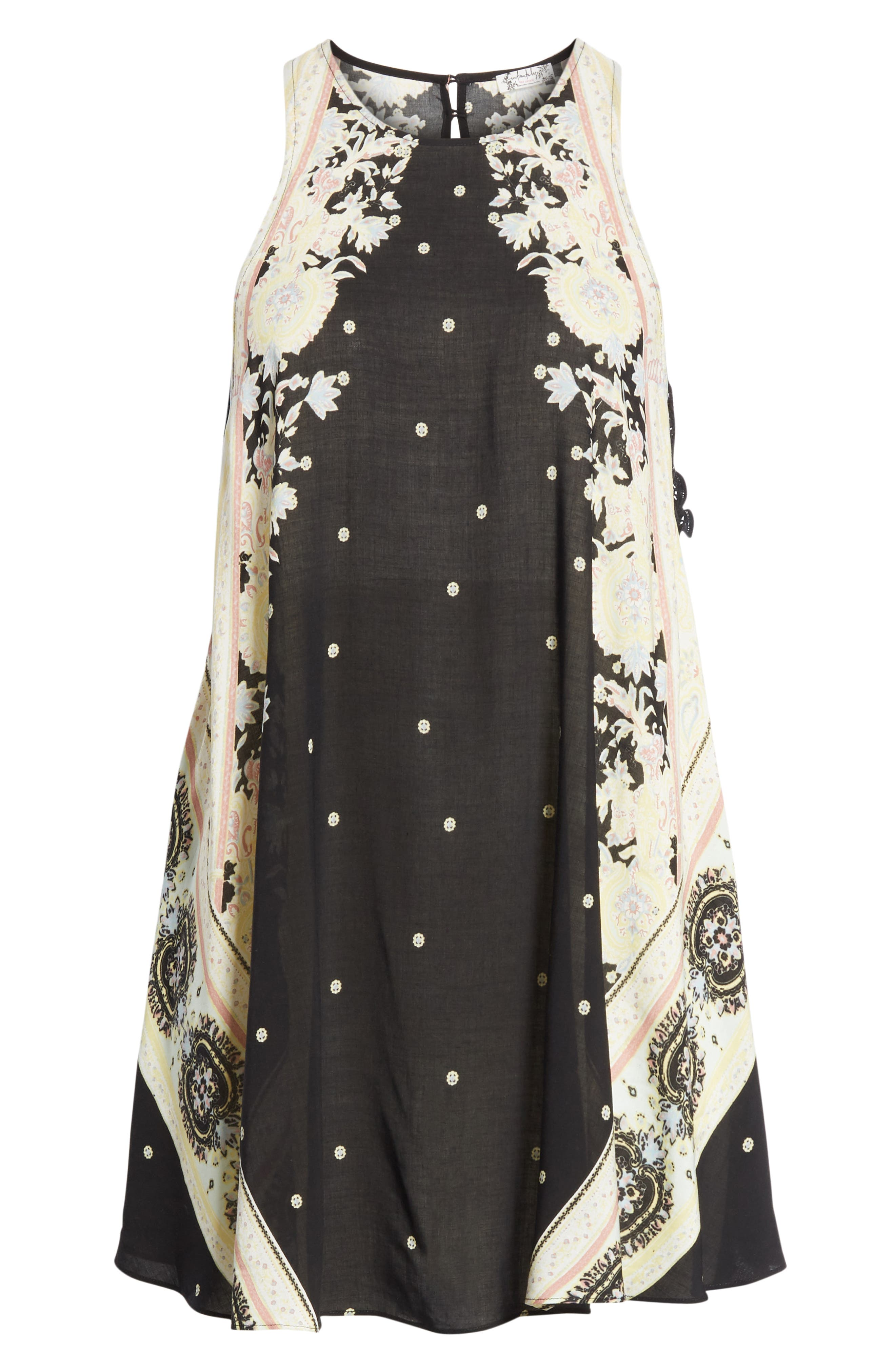 Darjeeling Print Minidress,                             Alternate thumbnail 8, color,                             BLACK COMBO