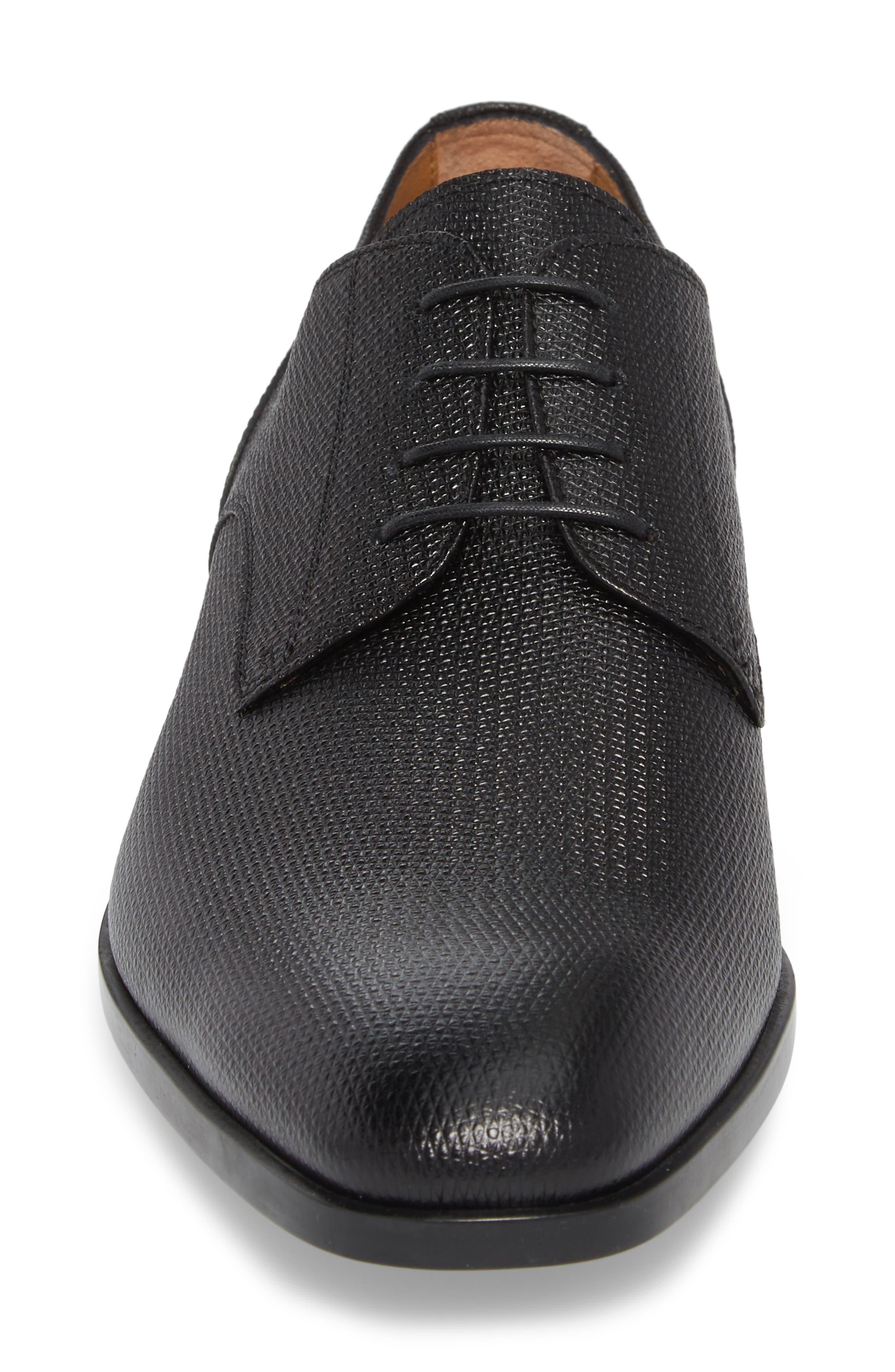 Hugo Boss Portland Embossed Plain Toe Derby,                             Alternate thumbnail 4, color,                             BLACK LEATHER