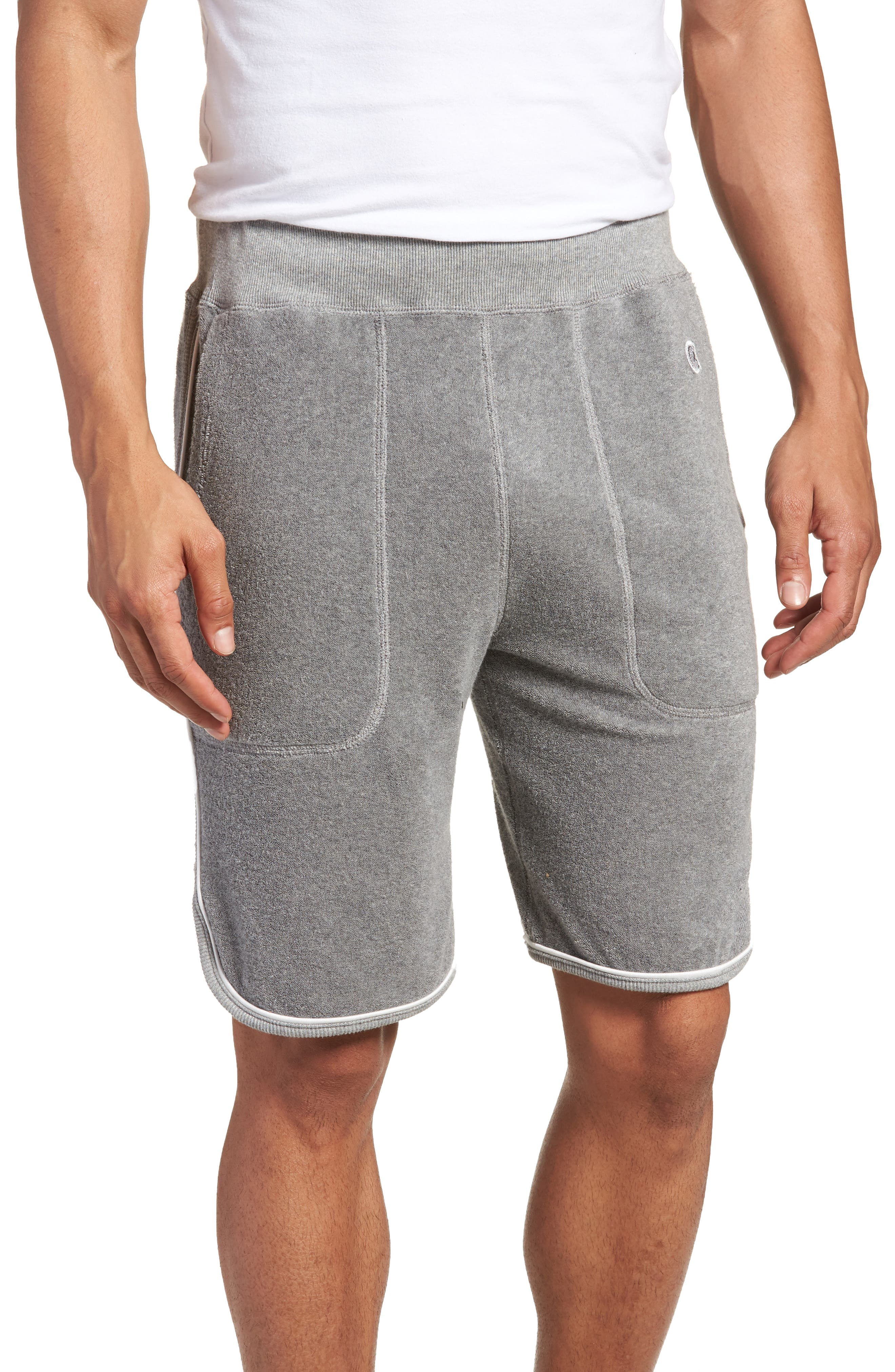 x Champion Piped Terry Shorts,                         Main,                         color, GREY