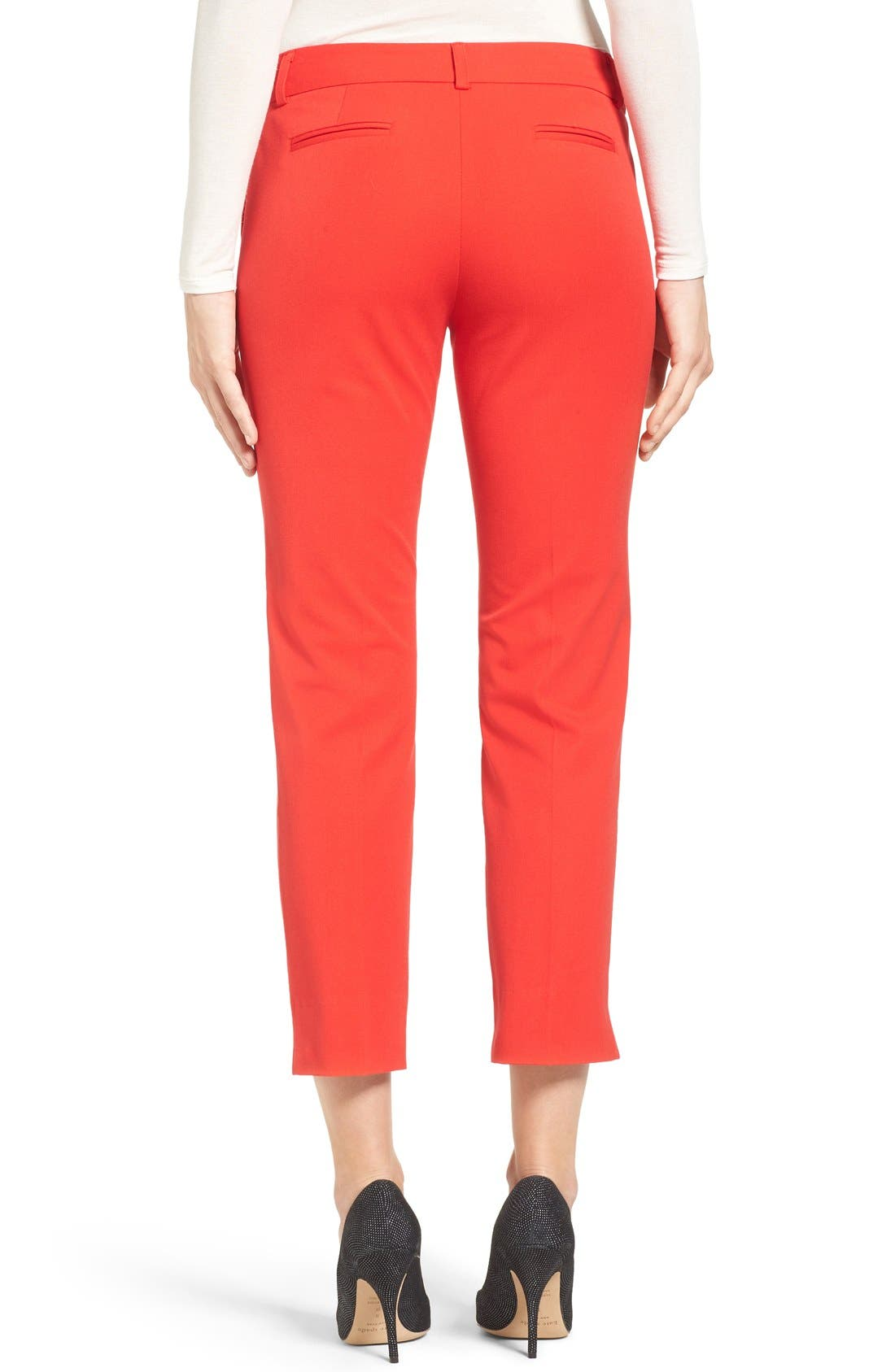 Crop Stretch Cotton Pants,                             Alternate thumbnail 42, color,