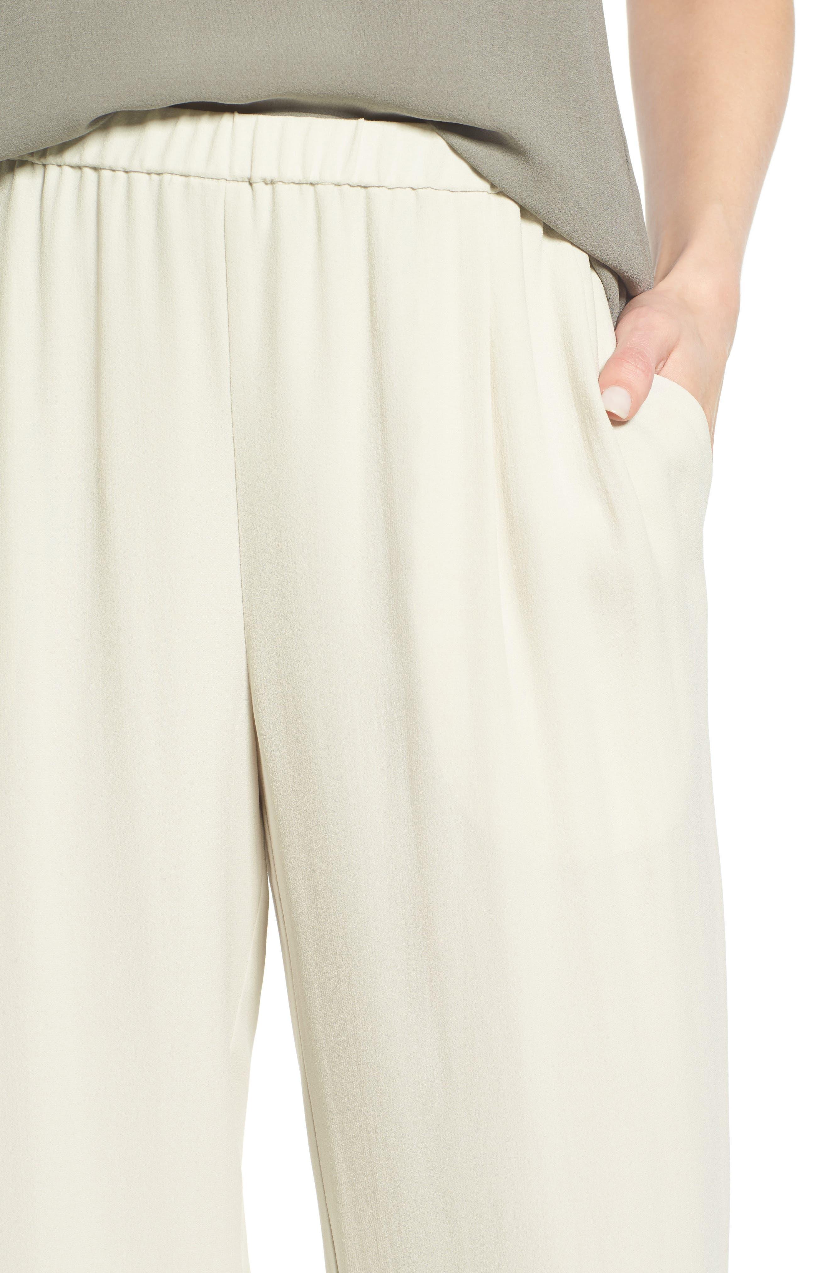 Silk Georgette Crepe Straight Ankle Pants,                             Alternate thumbnail 21, color,