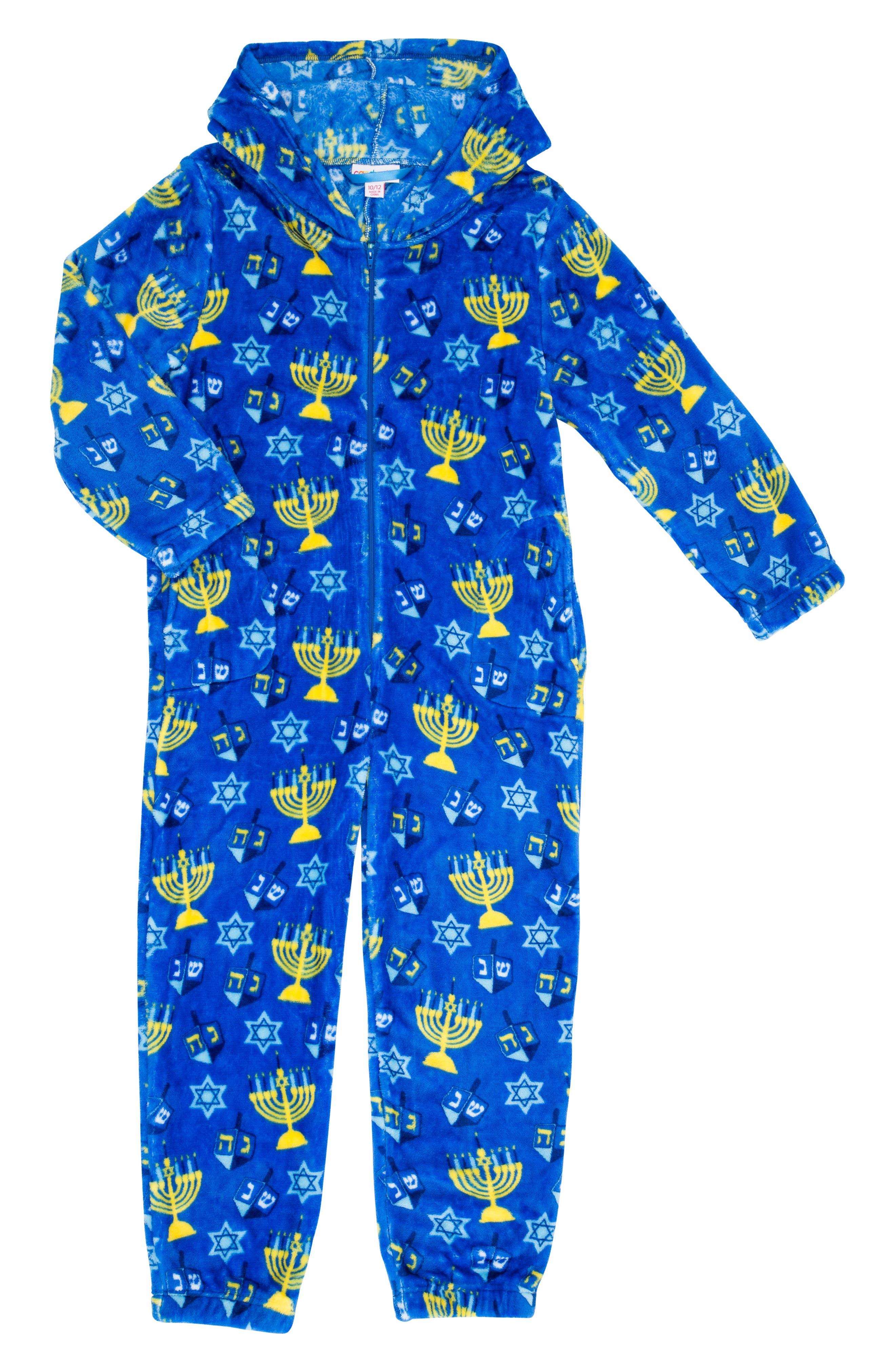 Hanukkah One-Piece Pajamas,                         Main,                         color, CHANUKAH BLUE