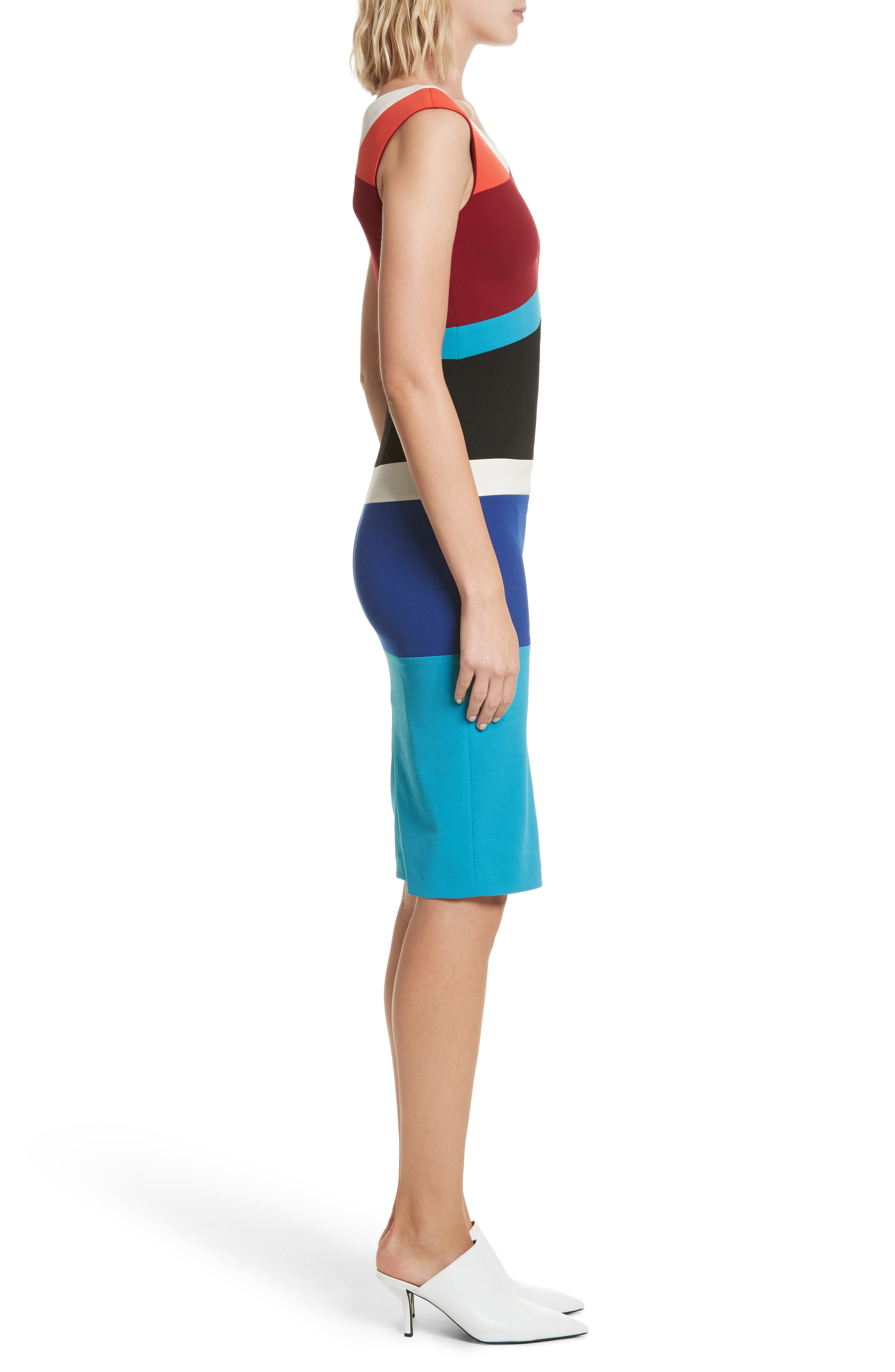 Colorblock Surplice Dress,                             Alternate thumbnail 3, color,                             498