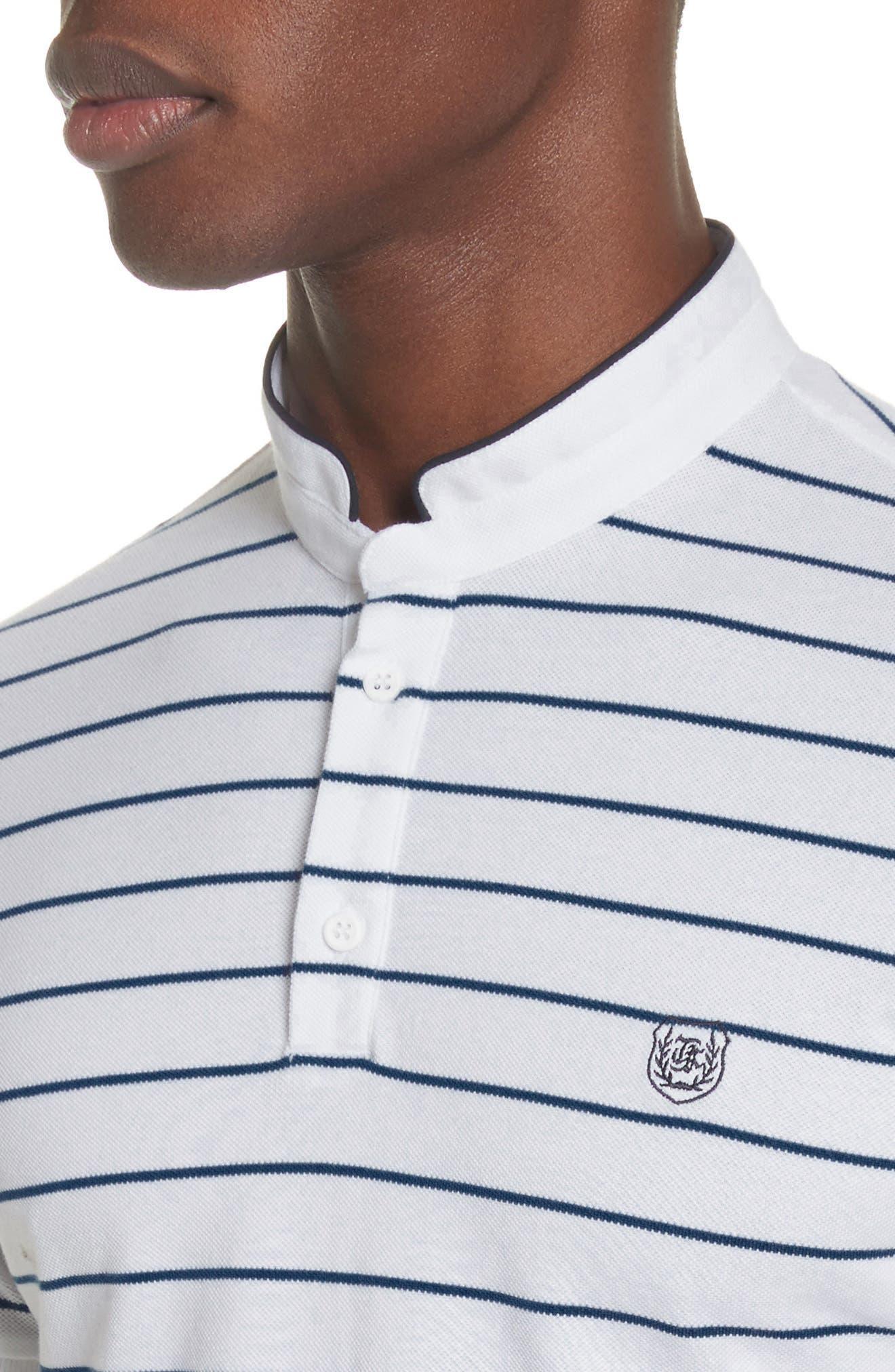 Stripe Officer Polo Shirt,                             Alternate thumbnail 4, color,                             100