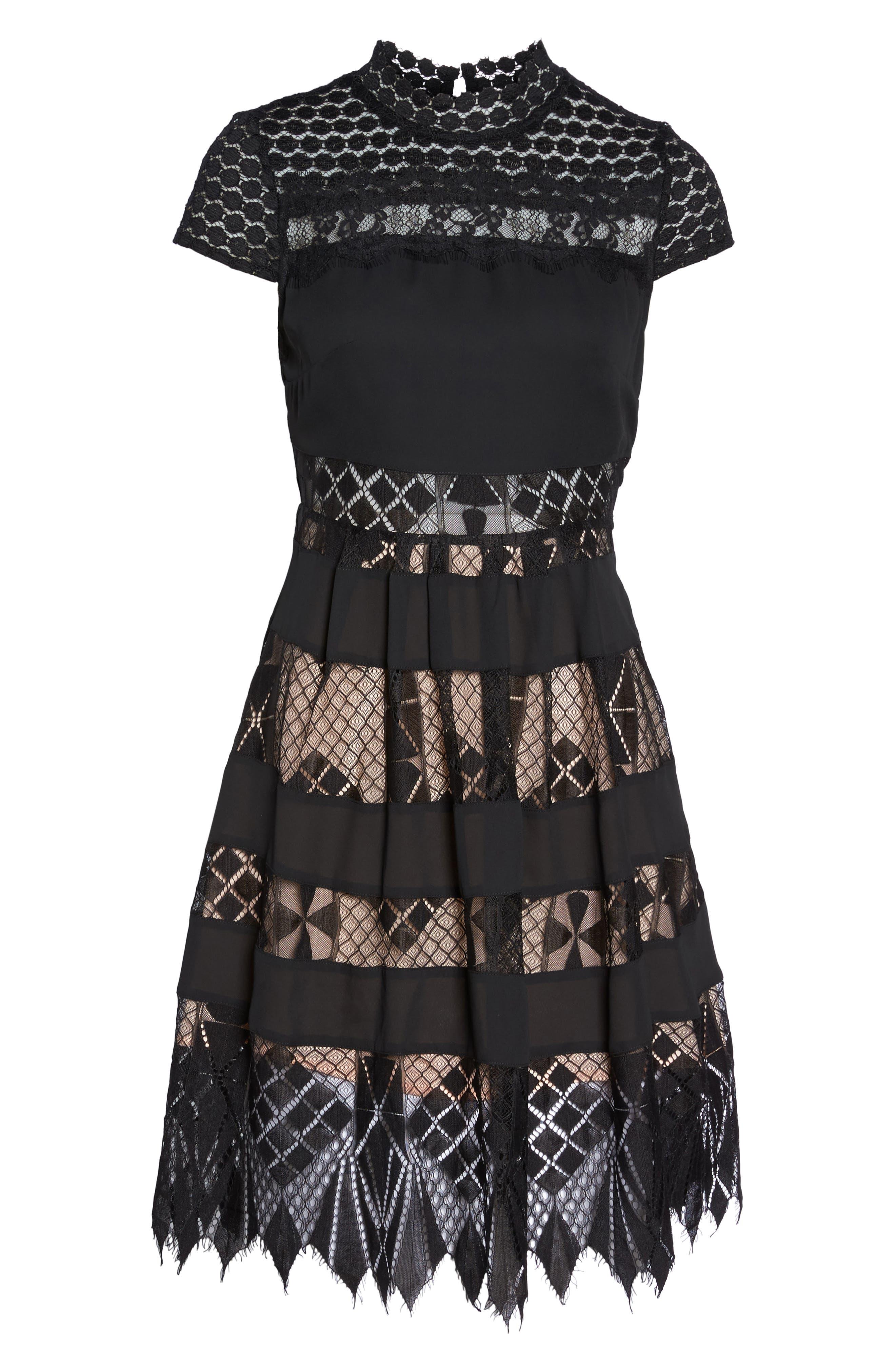 Bravo Zulu Lacy Paneled Fit & Flare Dress,                             Alternate thumbnail 6, color,                             001
