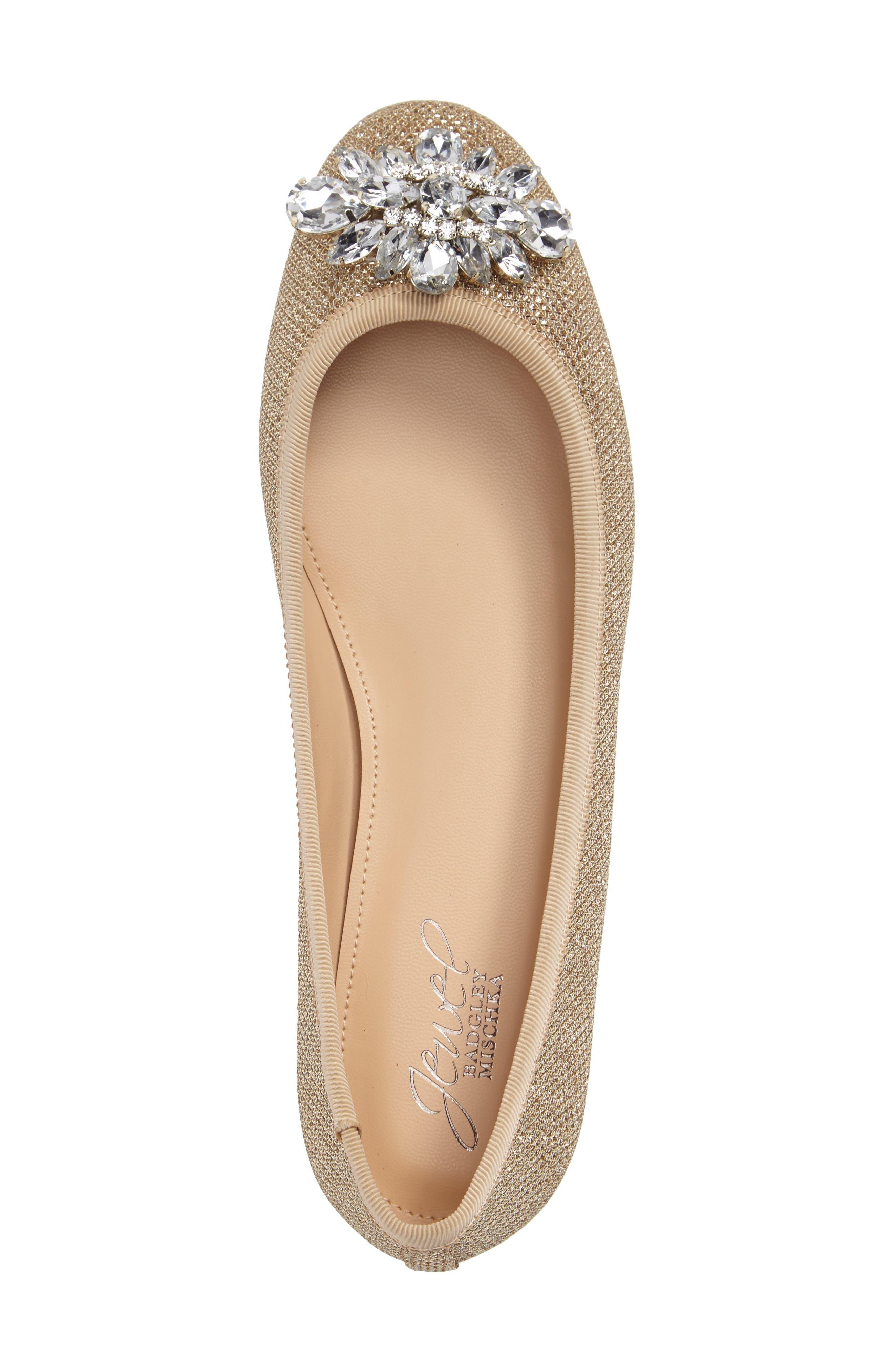 Cabella Embellished Ballet Flat,                             Alternate thumbnail 3, color,                             GOLD FABRIC