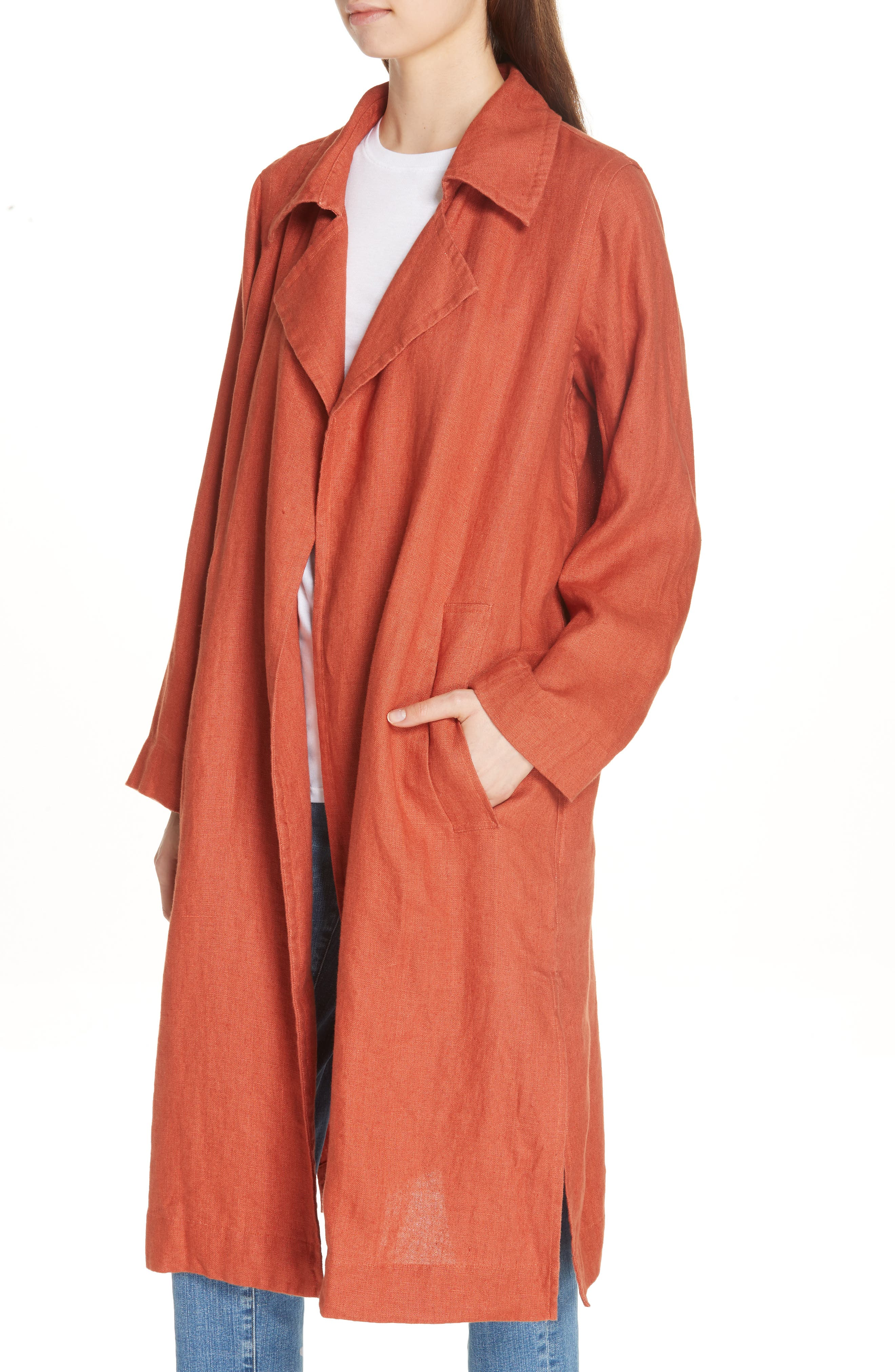 Organic Linen Trench Coat,                             Alternate thumbnail 4, color,                             822