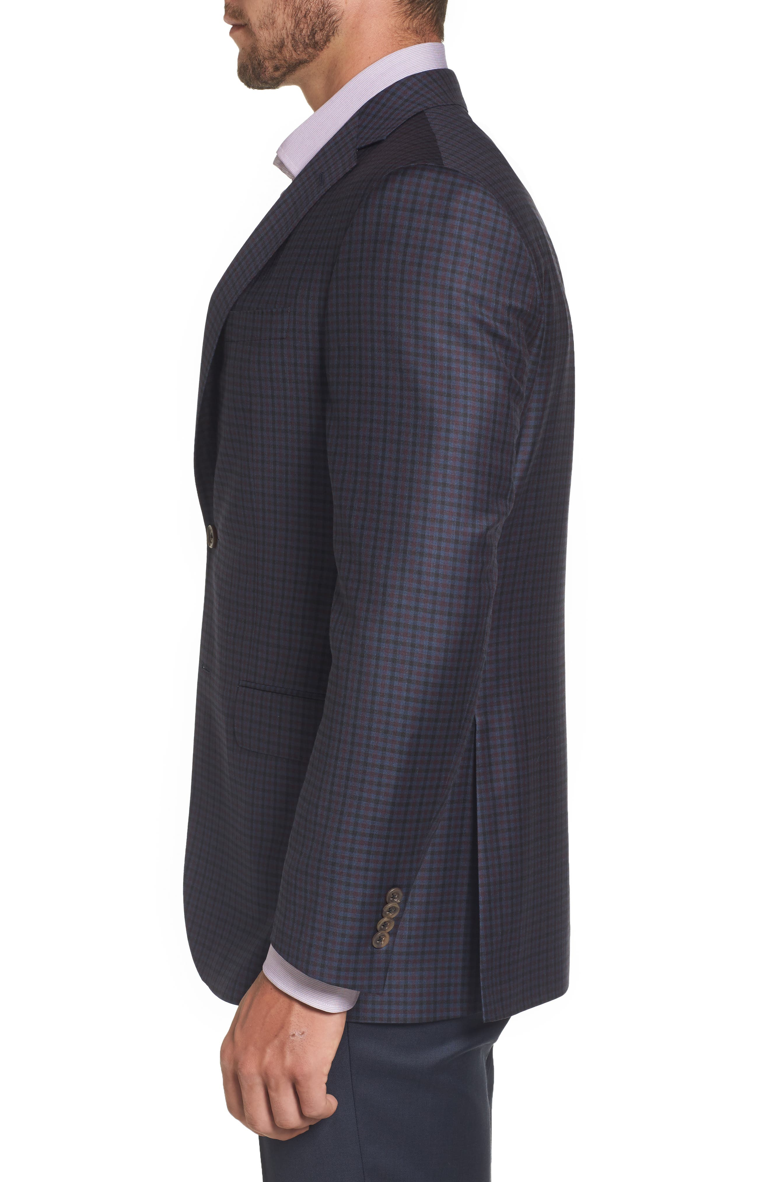 Connor Classic Fit Check Wool Sport Coat,                             Alternate thumbnail 3, color,                             400