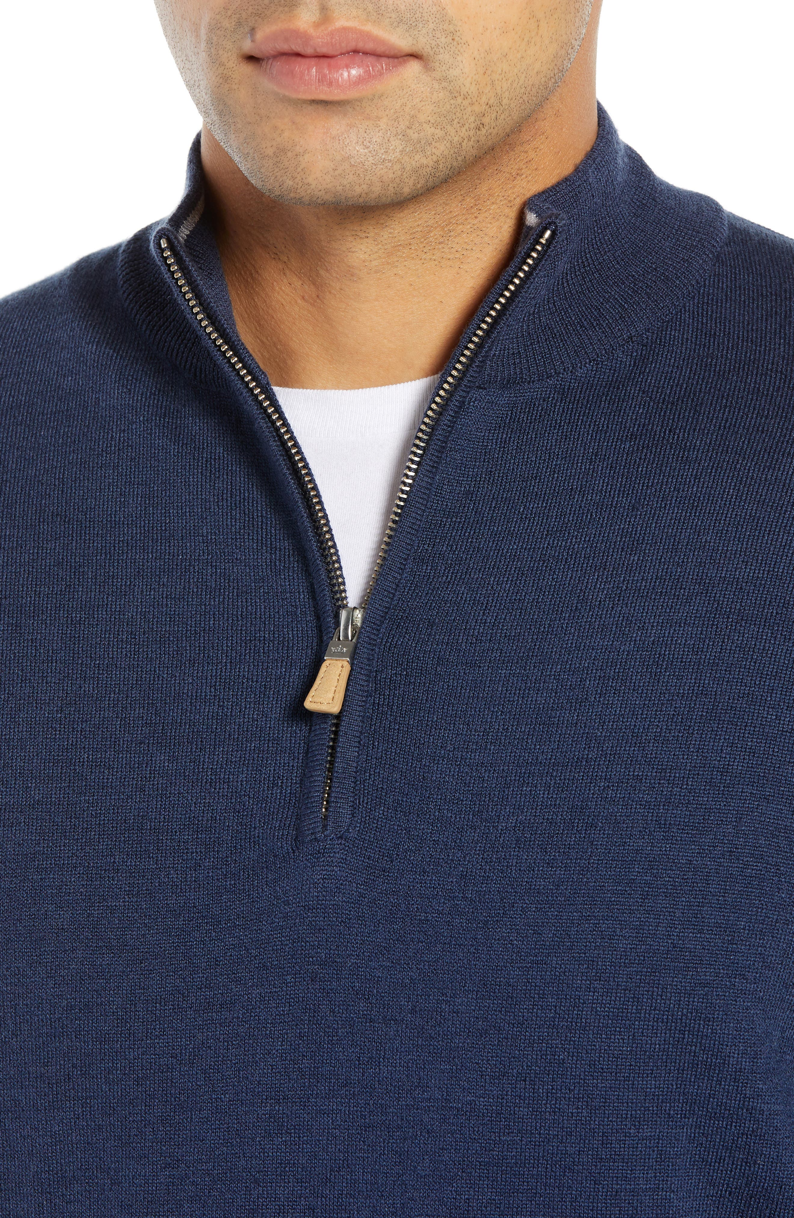 PETER MILLAR,                             Regular Fit Half Zip Wool & Linen Pullover,                             Alternate thumbnail 4, color,                             410