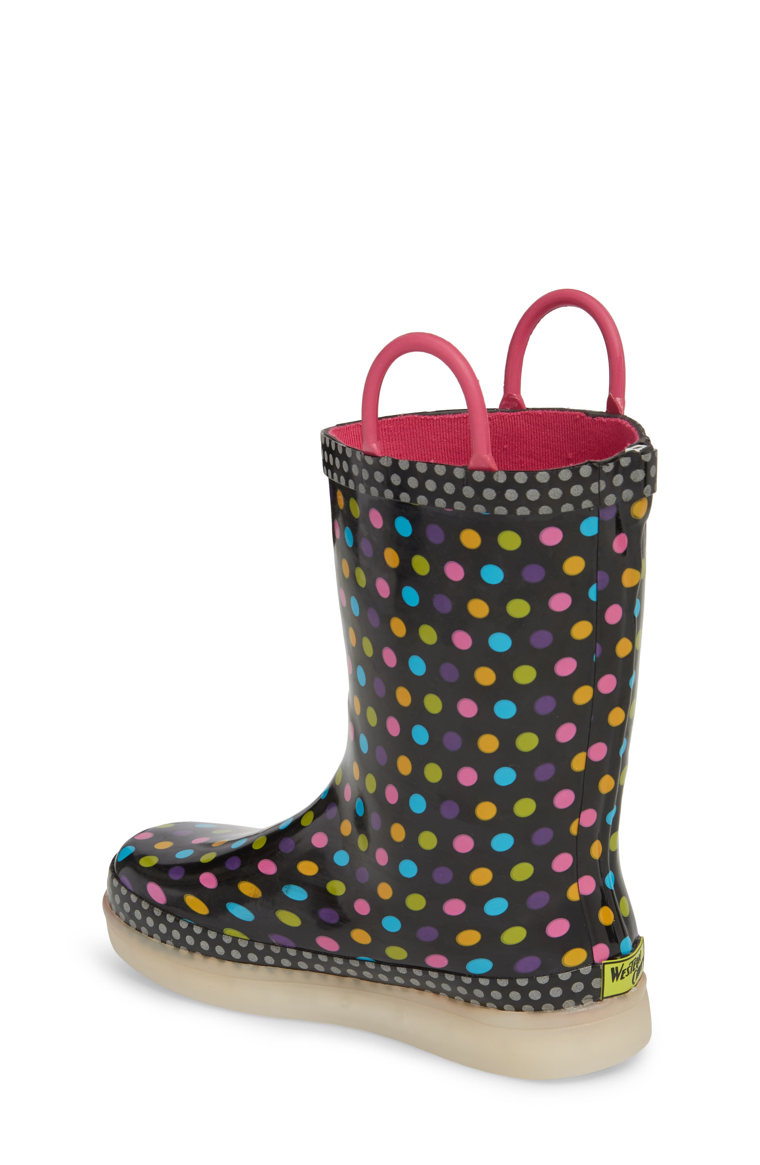 Digital Diva Dot LED Rain Boot,                             Alternate thumbnail 2, color,                             001