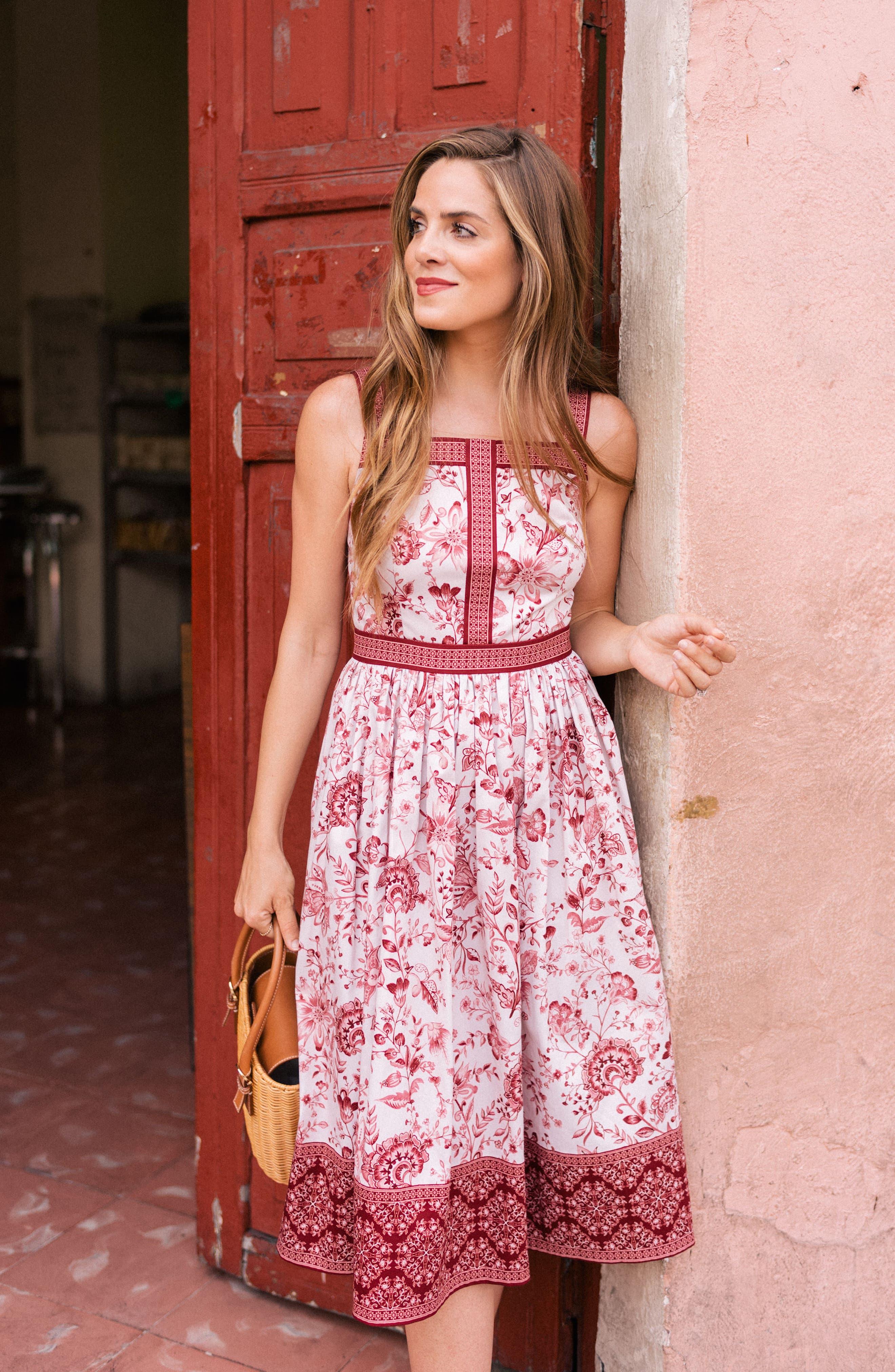 Esme Floral Fit & Flare Dress,                             Alternate thumbnail 9, color,                             690