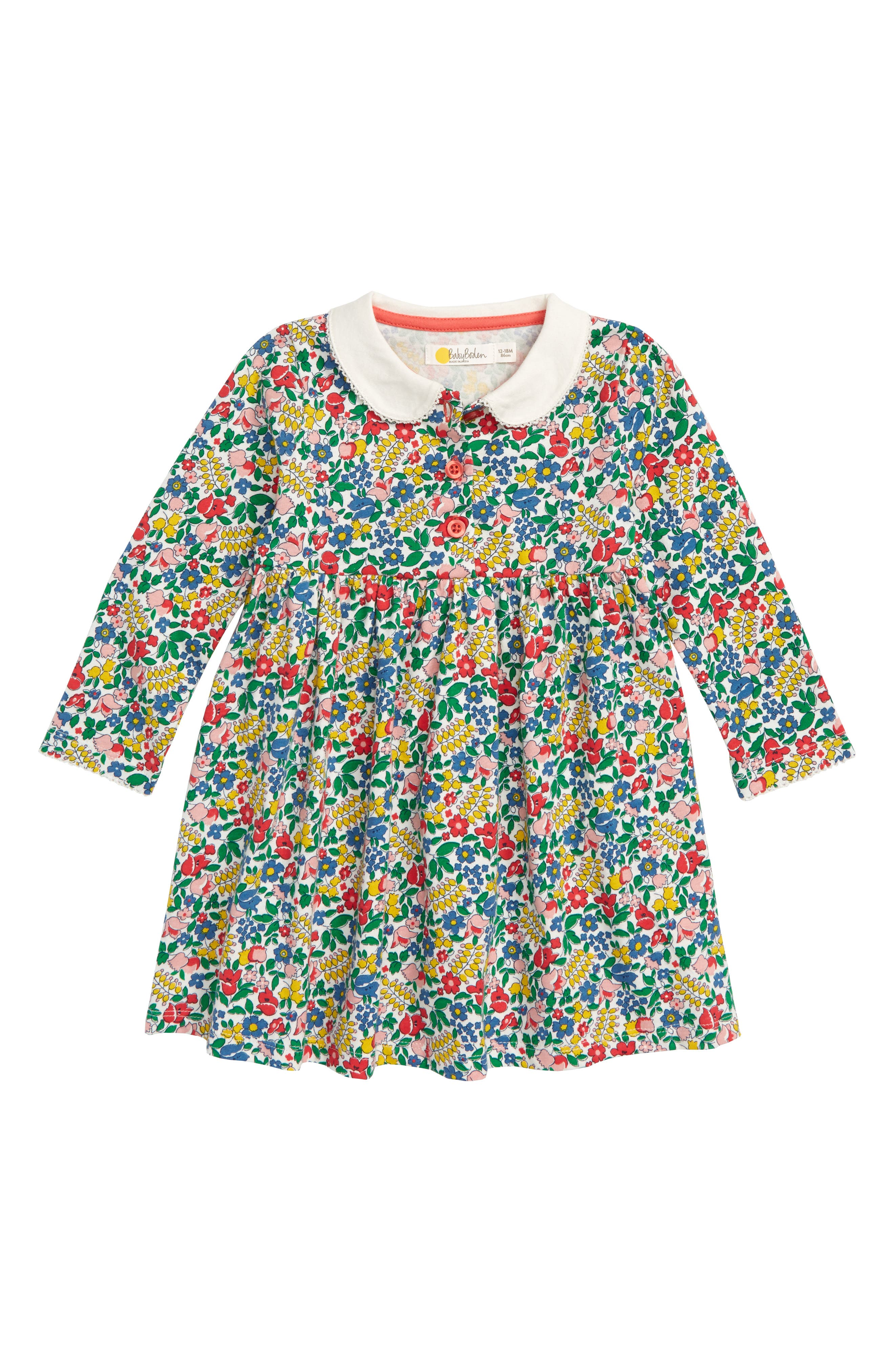 Pretty Collared Dress,                             Main thumbnail 1, color,                             FLOWERBED