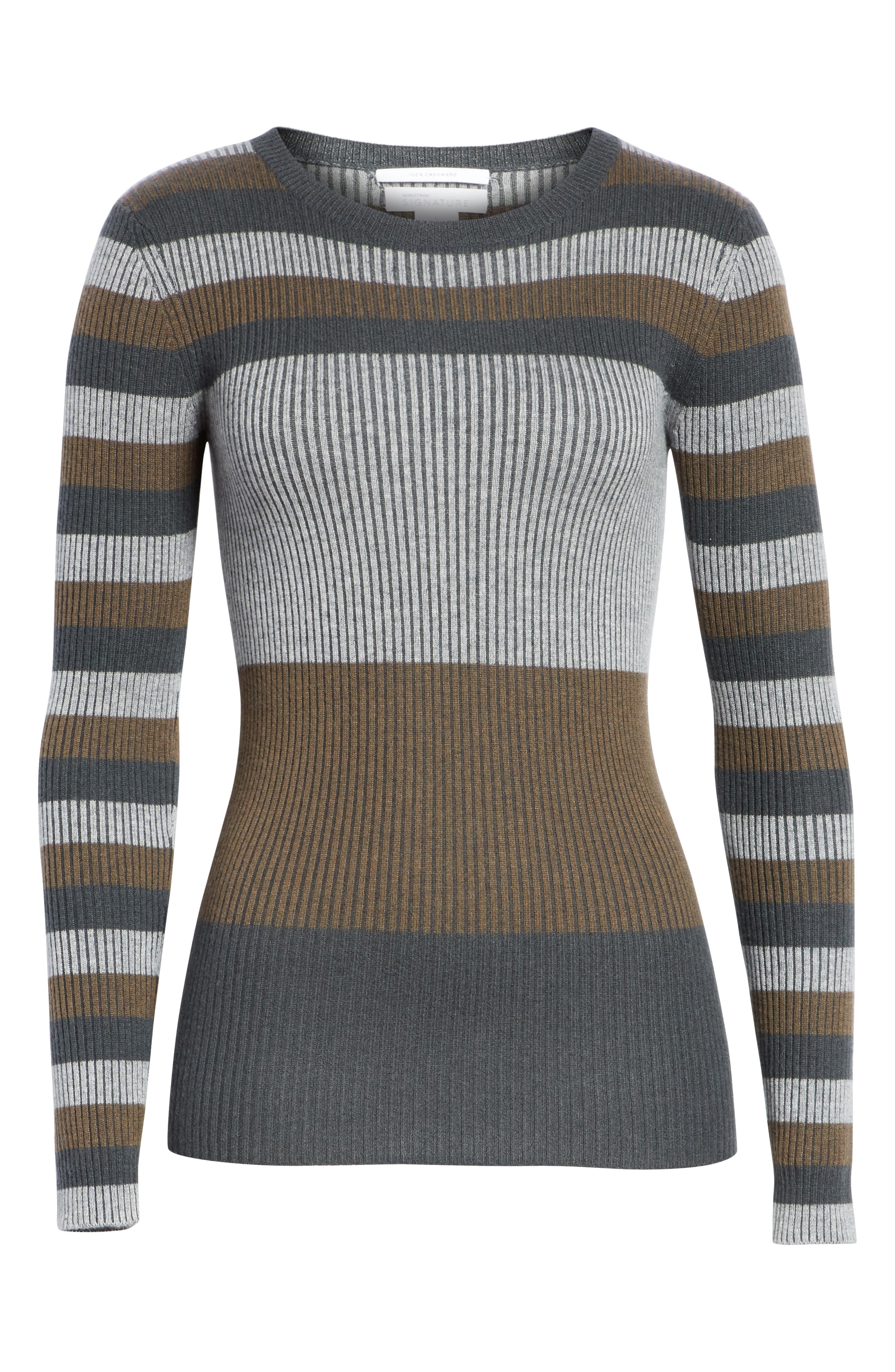 NORDSTROM SIGNATURE,                             Stripe Cashmere Sweater,                             Alternate thumbnail 6, color,                             315