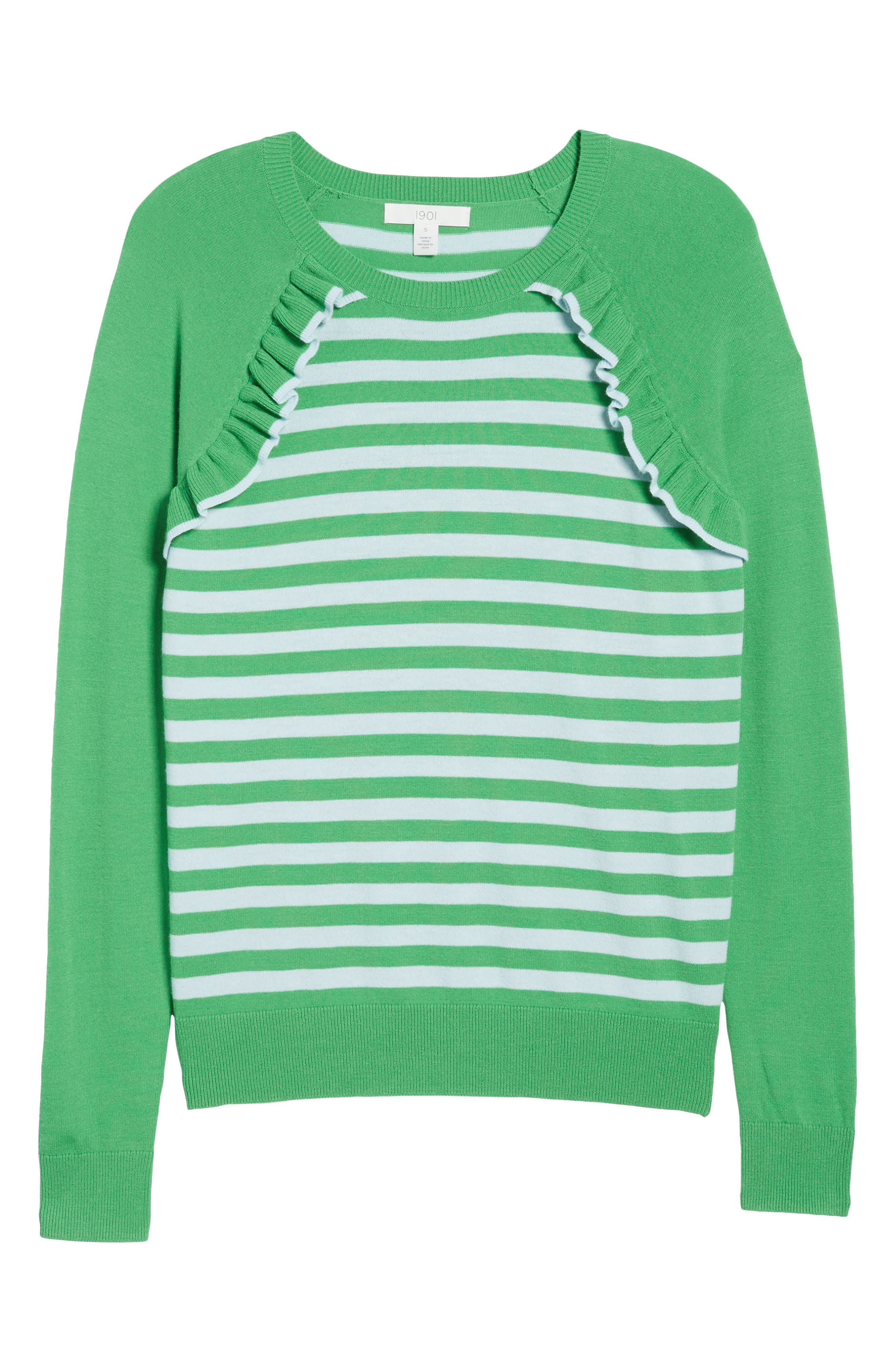 Ruffle Trim Stripe Sweater,                             Alternate thumbnail 16, color,