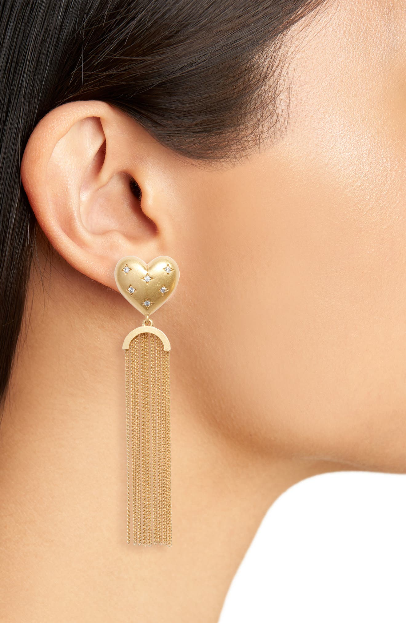 my precious heart fringe earrings,                             Alternate thumbnail 2, color,                             CLEAR/ GOLD