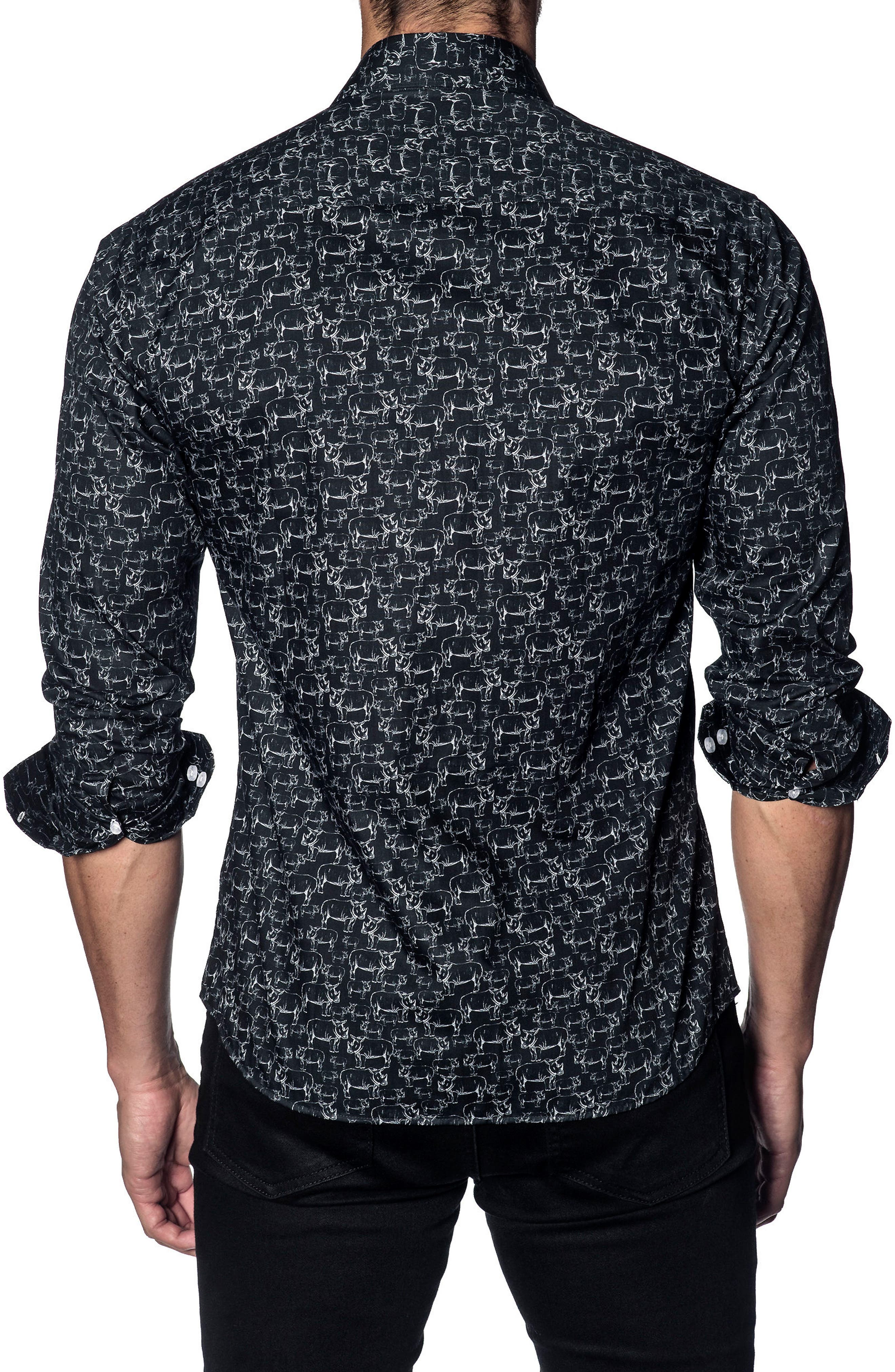 Trim Fit Sport Shirt,                             Alternate thumbnail 2, color,                             BLACK WHITE RHINOS