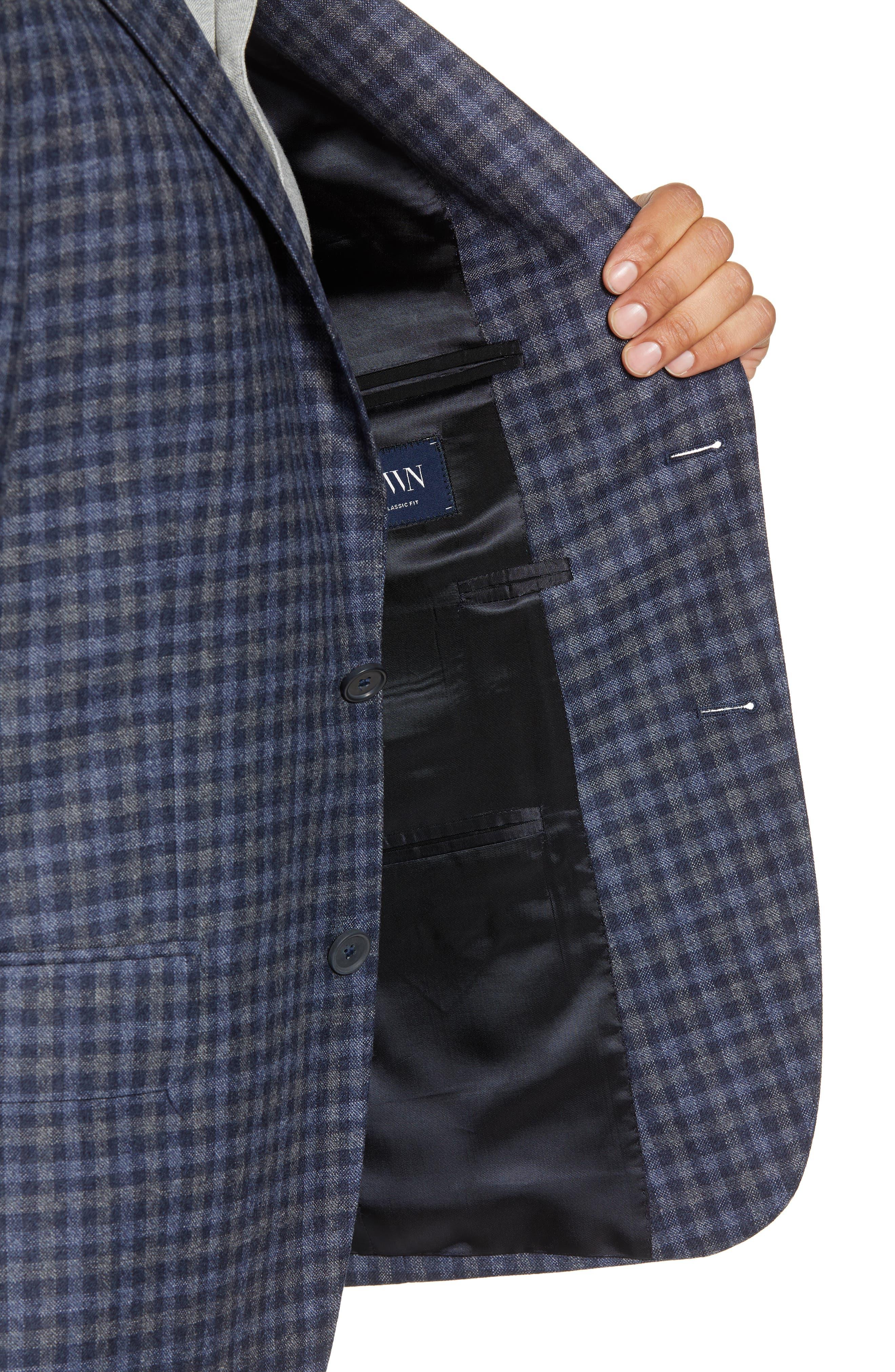 Traditional Fit Check Wool Sport Coat,                             Alternate thumbnail 4, color,                             DENIM BLUE