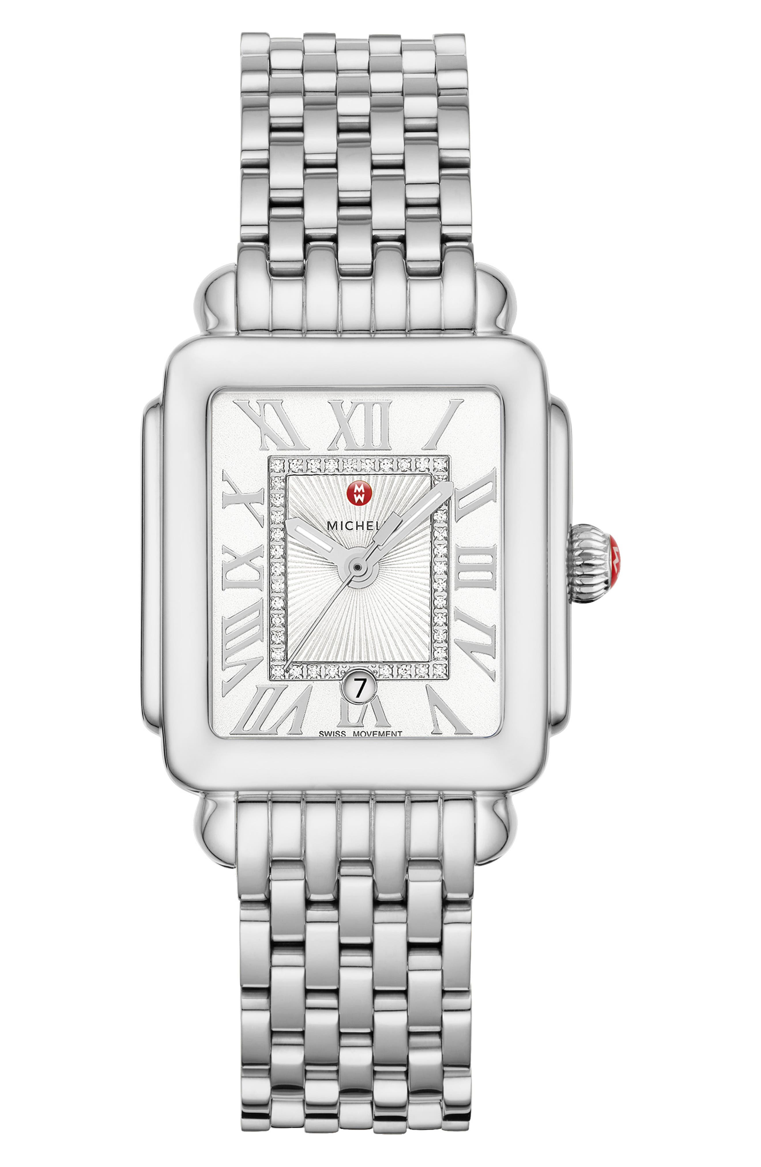 Deco Madison Mid Diamond Dial Watch Head, 29mm x 31mm,                             Alternate thumbnail 4, color,                             SILVER/ SILVER WHITE SUNRAY