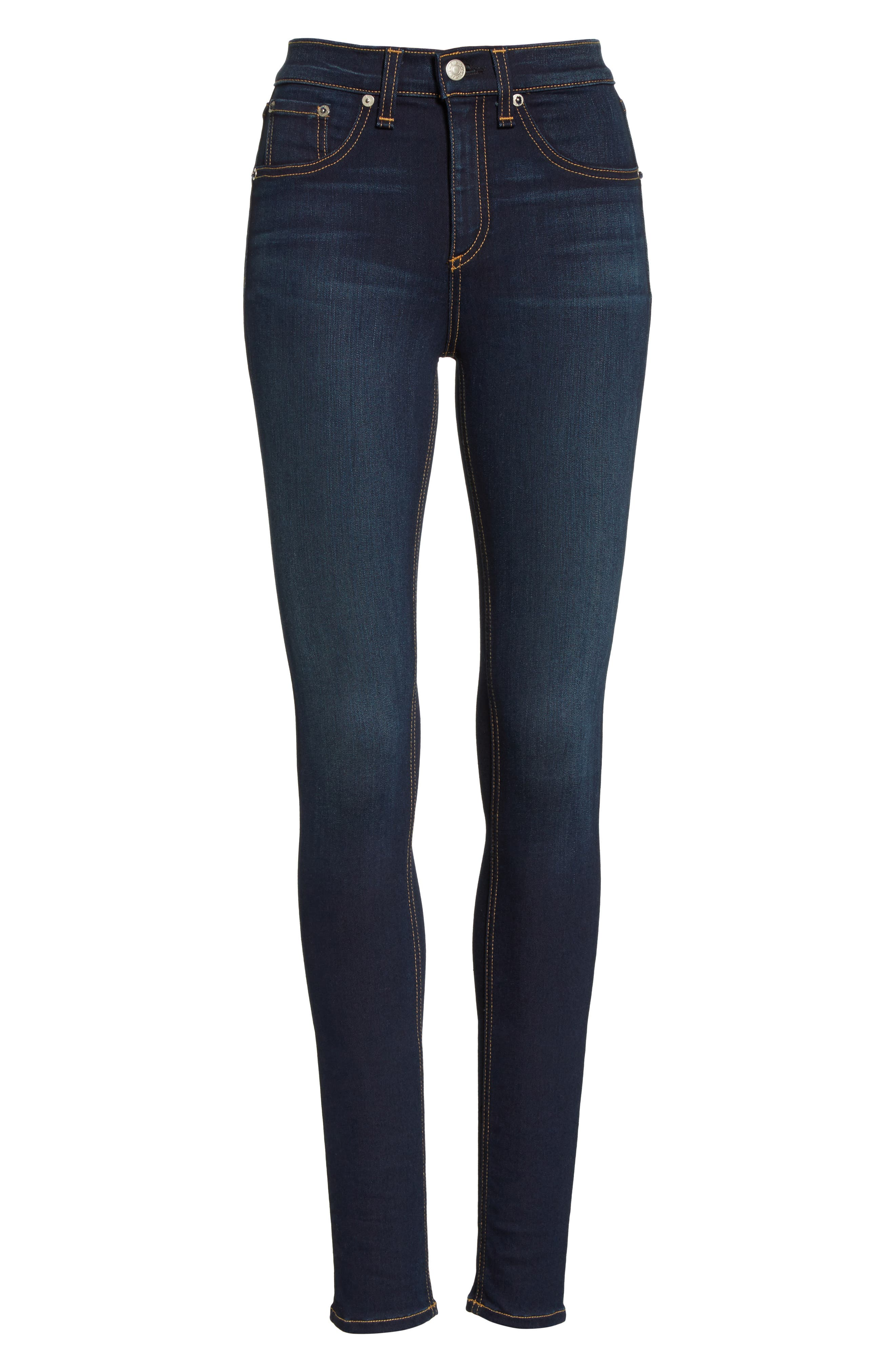 rag & bone DENIM High Waist Skinny Jeans,                             Alternate thumbnail 7, color,                             BEDFORD