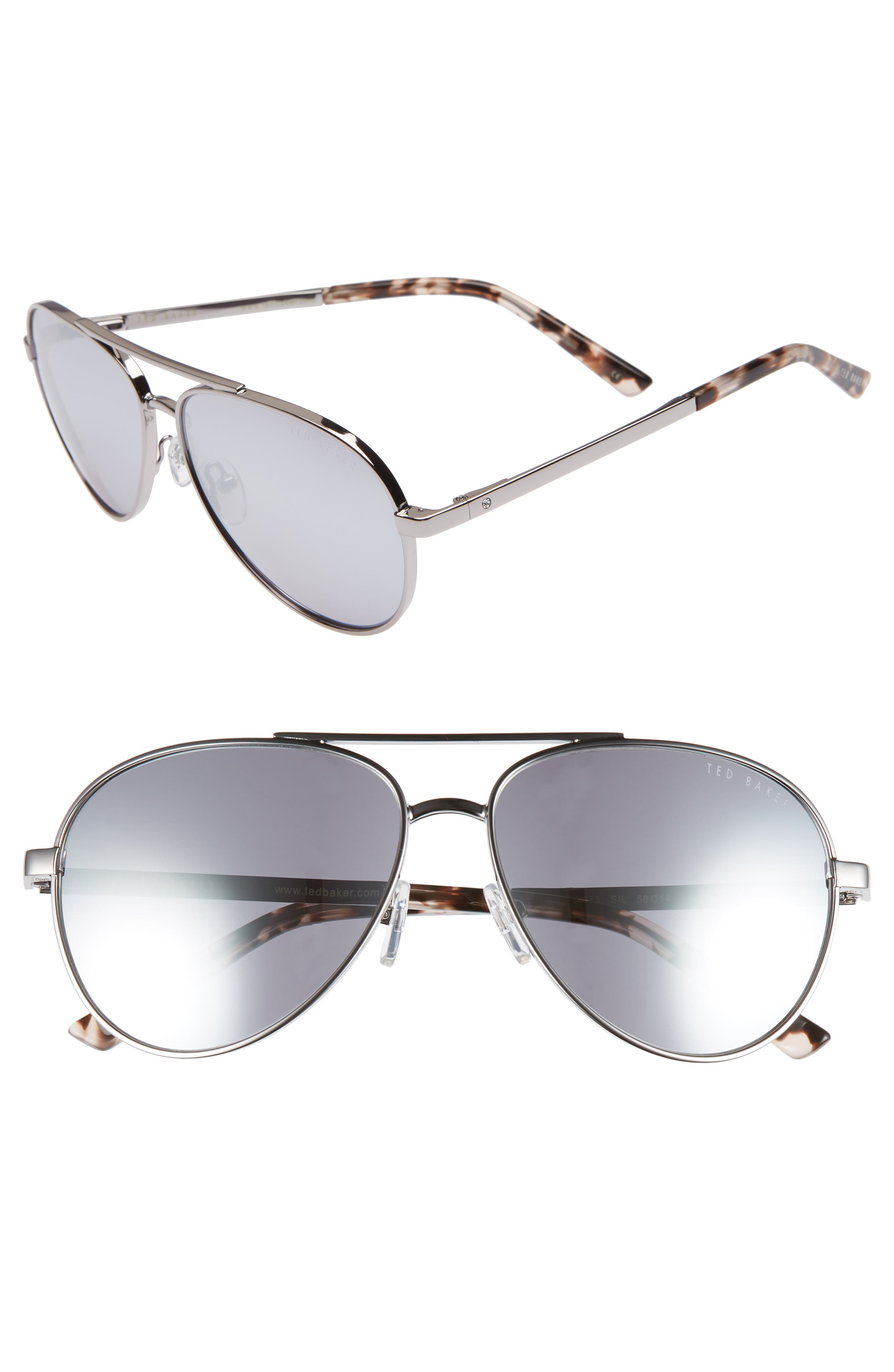 58mm Aviator Sunglasses,                         Main,                         color, SILVER