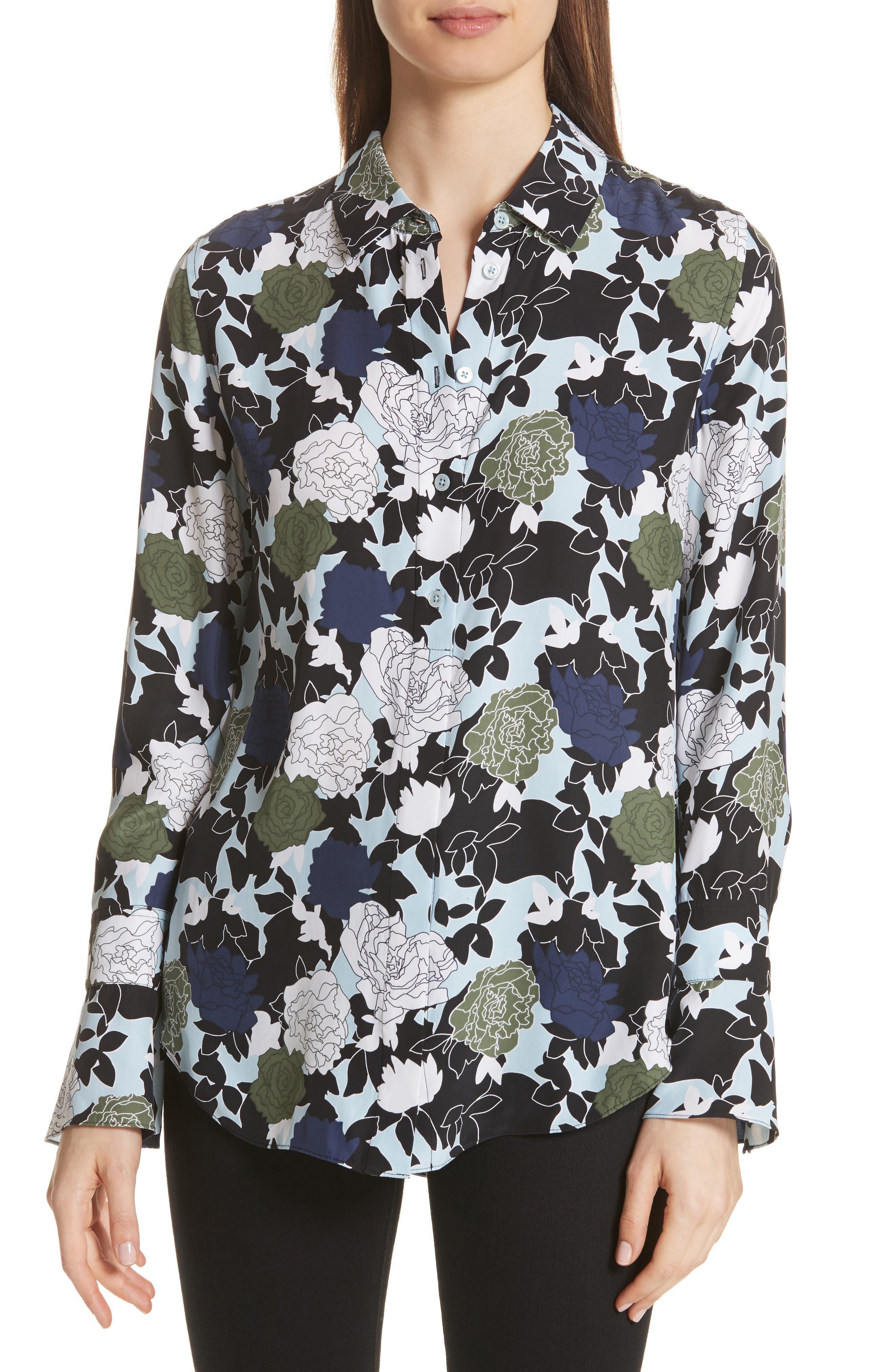 Daphne Floral Silk Shirt,                         Main,                         color, COOL BREEZE MULTI