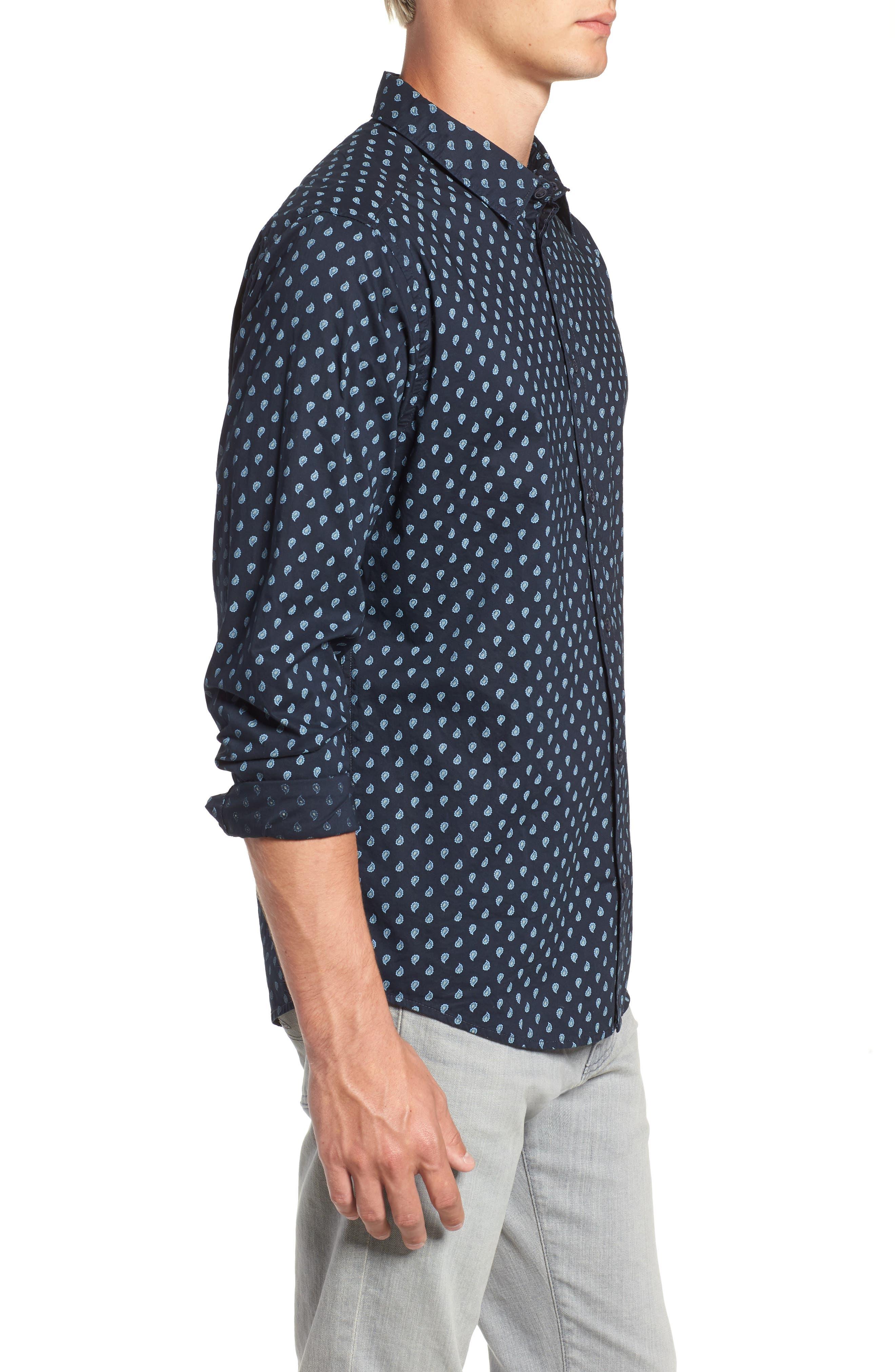 Mini Paisley Woven Long Sleeve Shirt,                             Alternate thumbnail 4, color,                             402