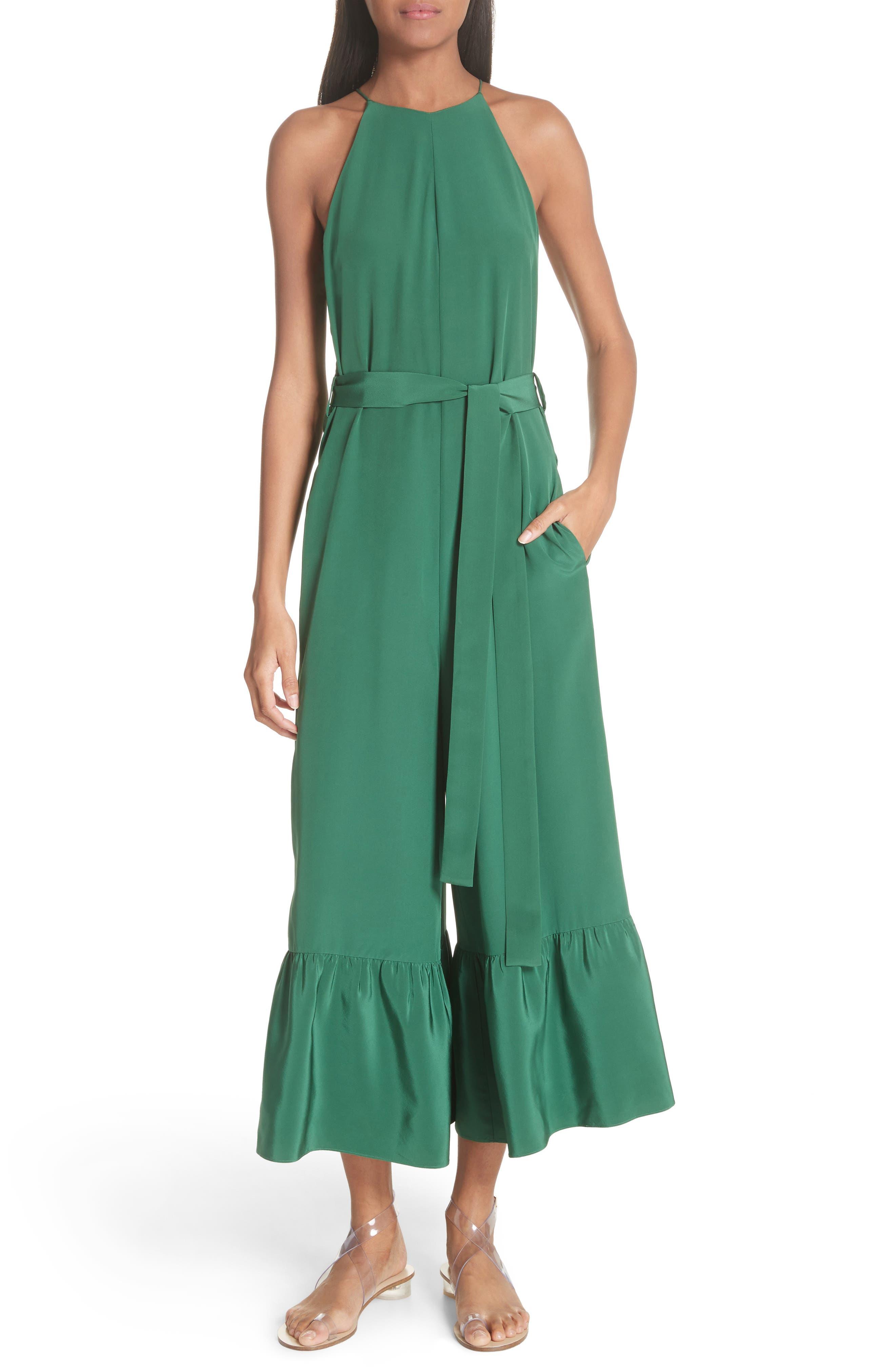 Ruffle Silk Jumpsuit,                         Main,                         color, GREEN
