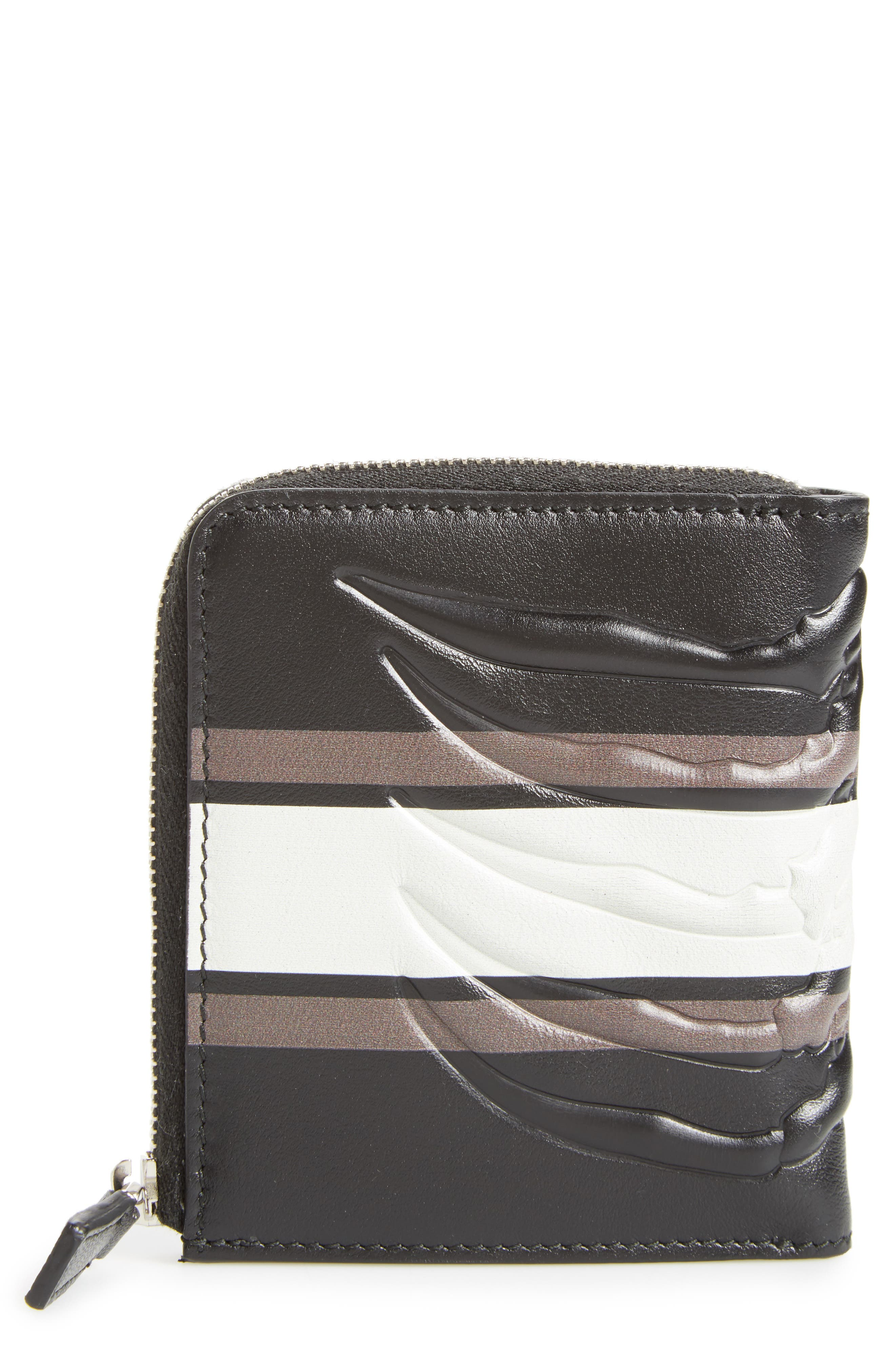 Leather Half Zip Wallet,                             Main thumbnail 1, color,                             001