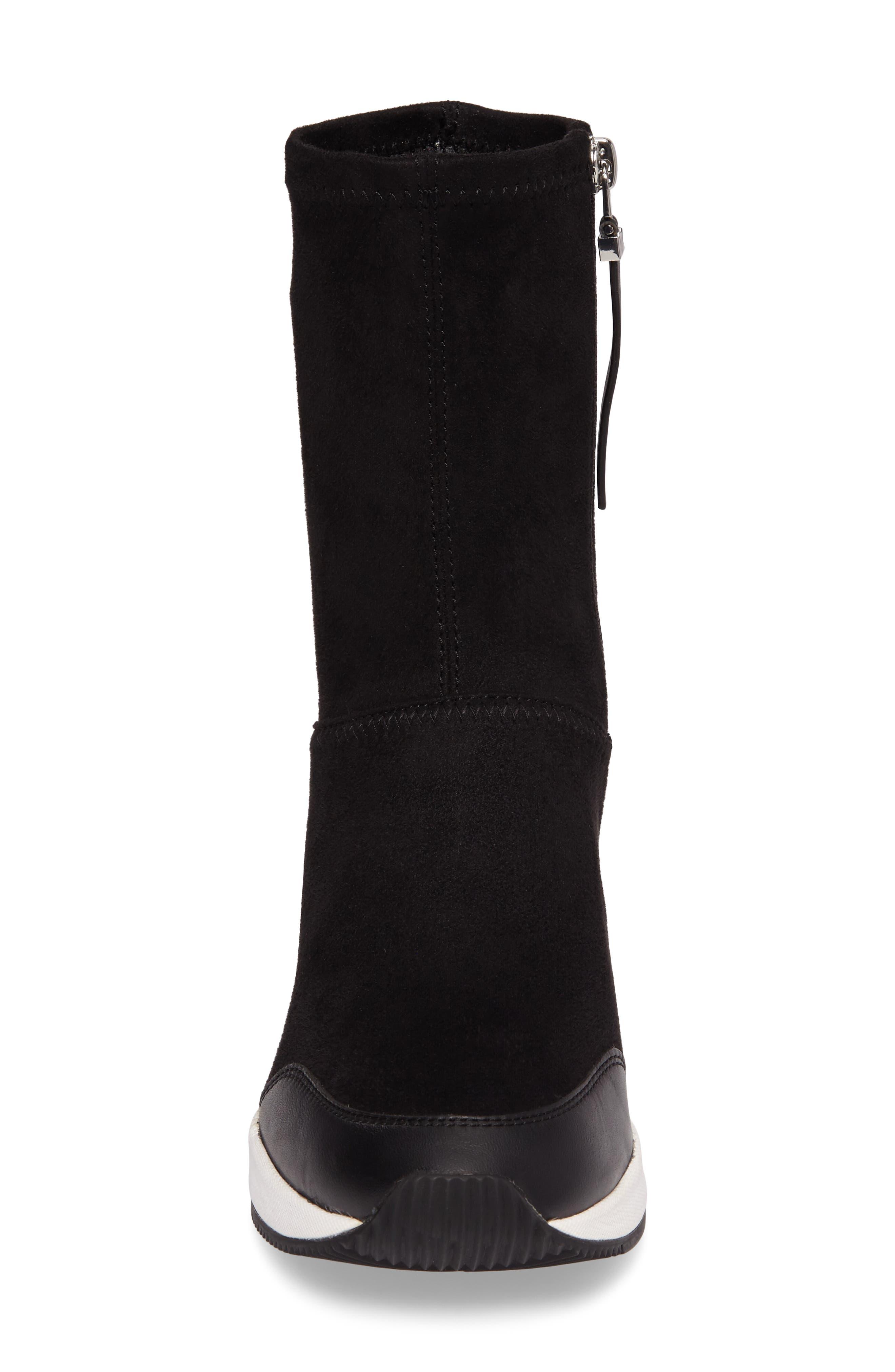 'Ace' Wedge Sneaker Bootie,                             Alternate thumbnail 4, color,                             BLACK SUEDE