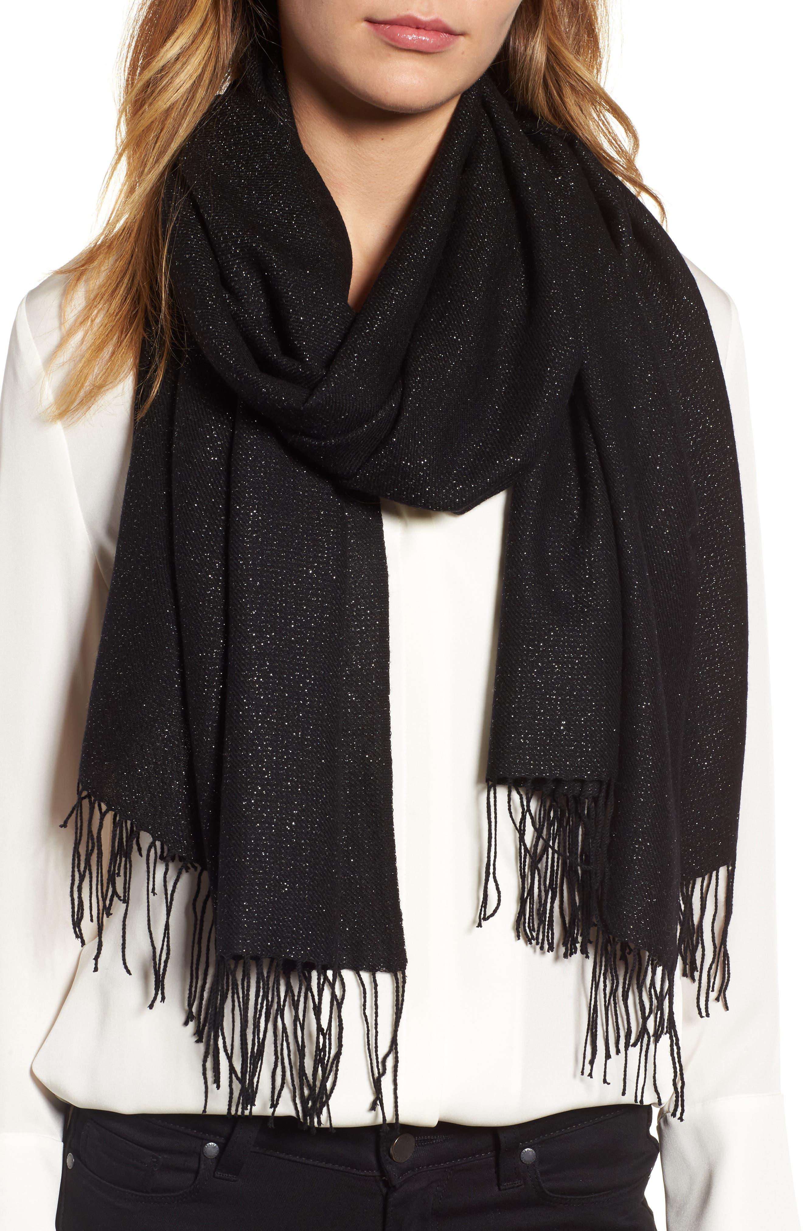 Metallic Wool Blend Scarf,                             Main thumbnail 1, color,                             BLACK COMBO