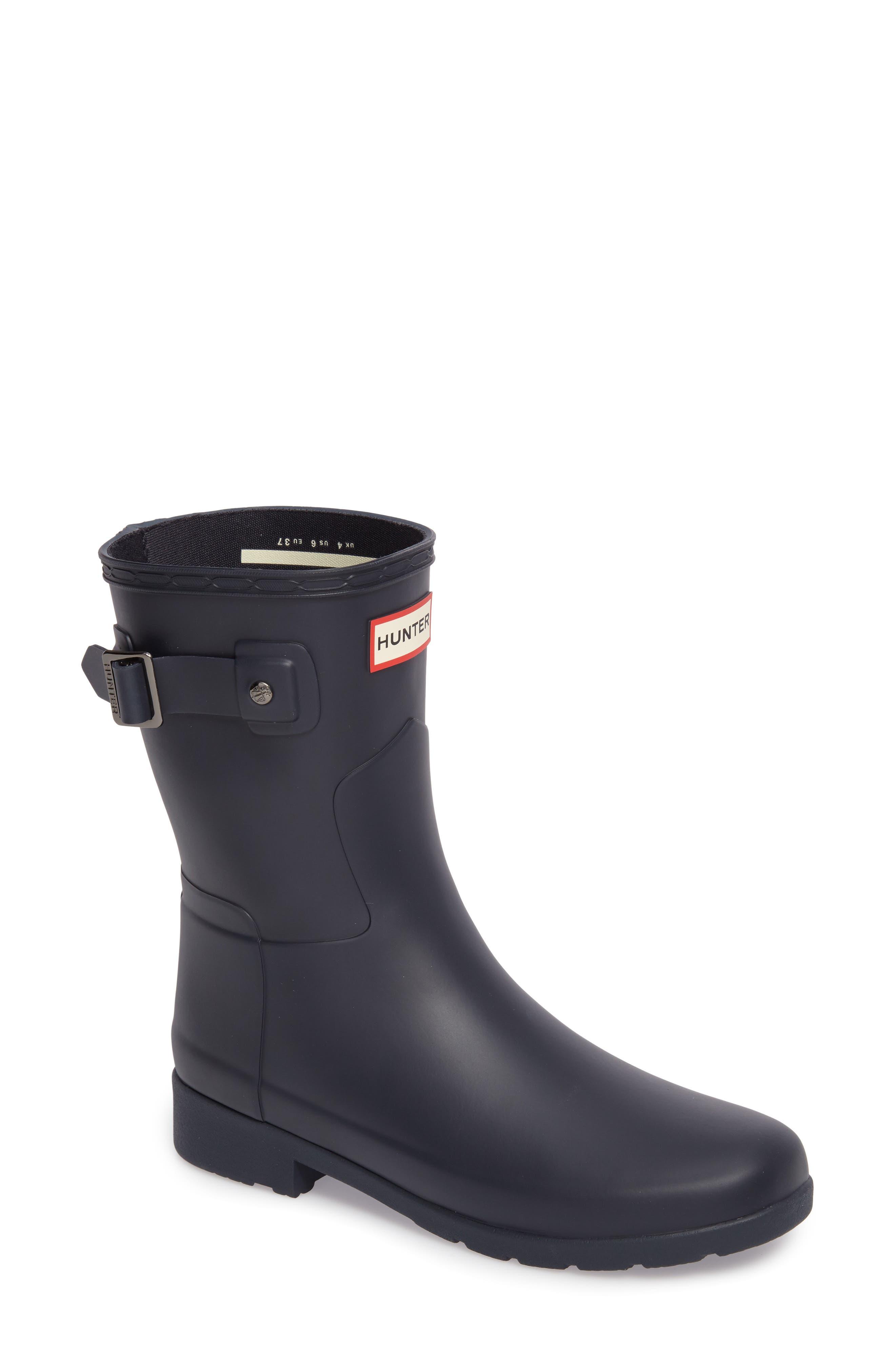 HUNTER,                             Original Refined Short Waterproof Rain Boot,                             Main thumbnail 1, color,                             NAVY
