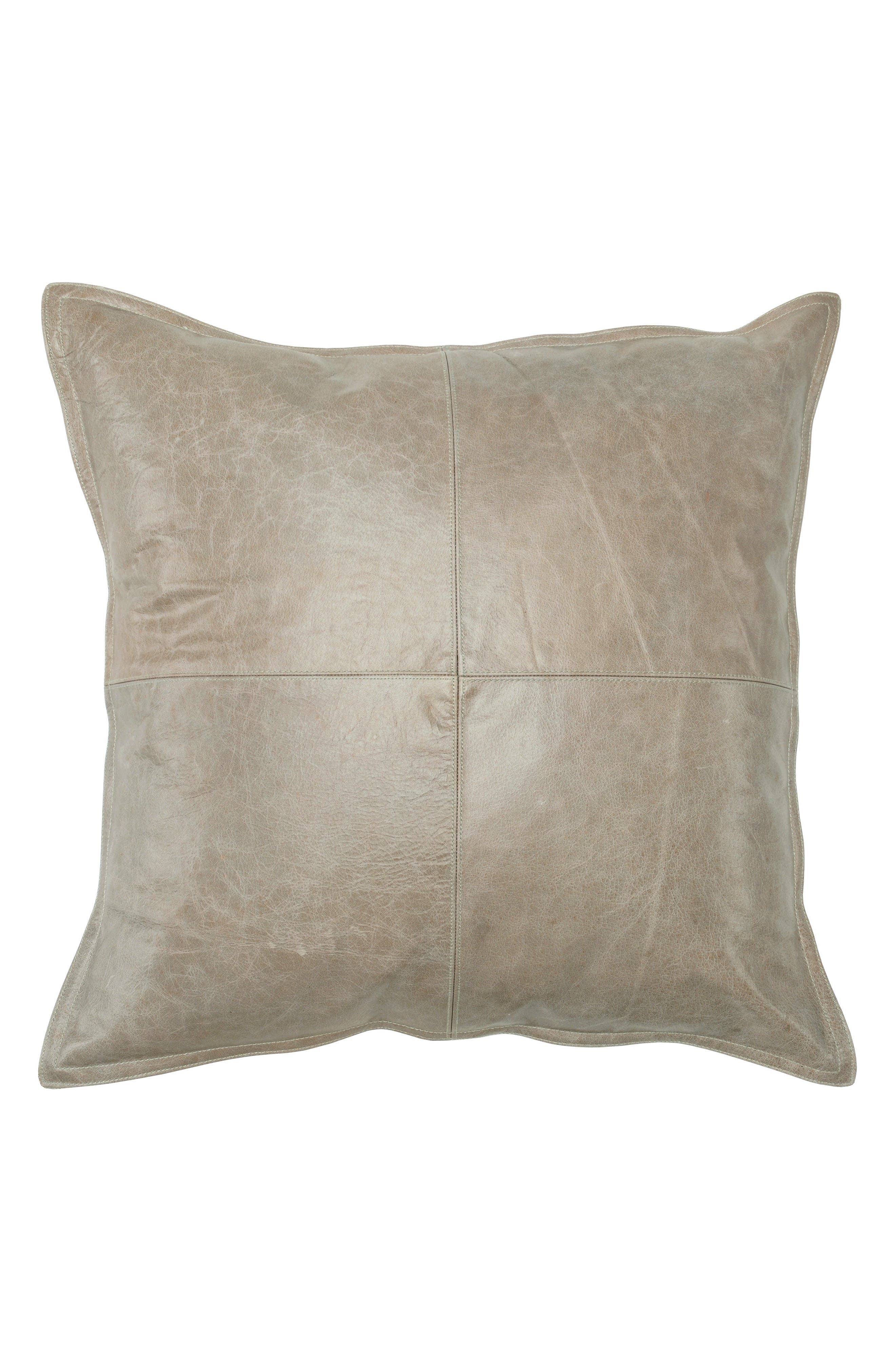 Pike Leather Accent Pillow,                             Main thumbnail 1, color,                             GRAY