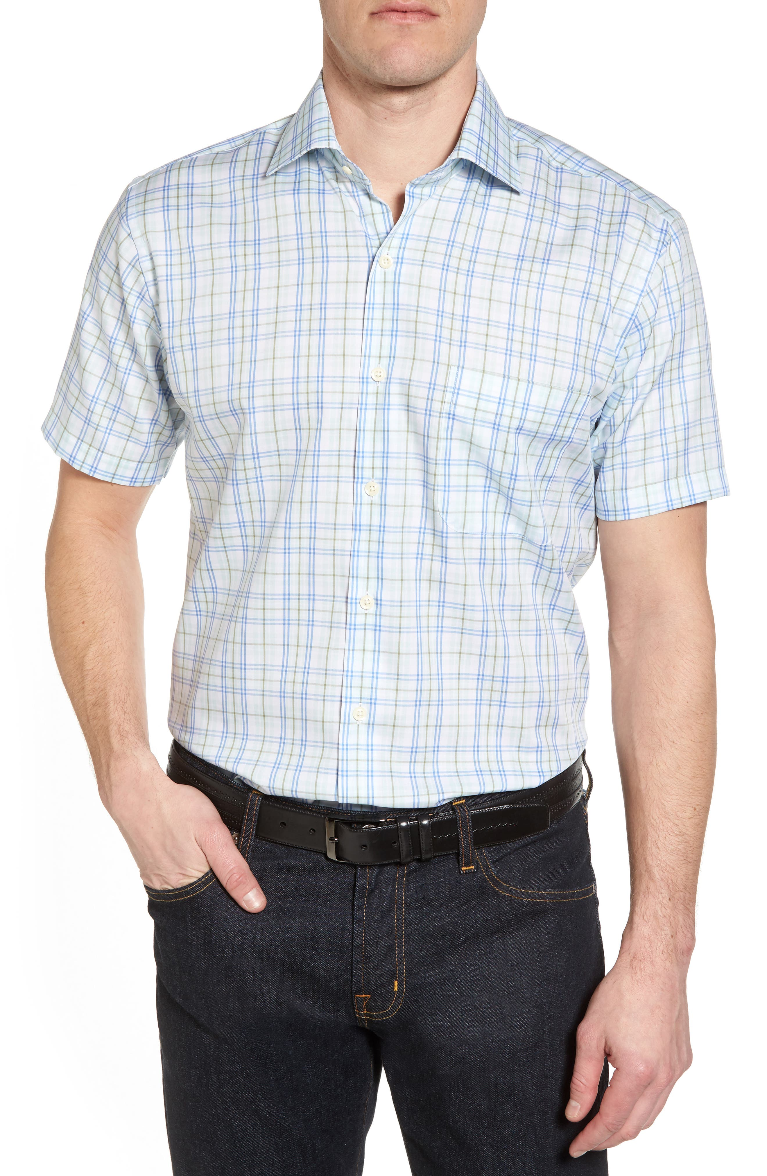 Peter Millar Crown Ease Sloan Regular Fit Plaid Sport Shirt, Blue