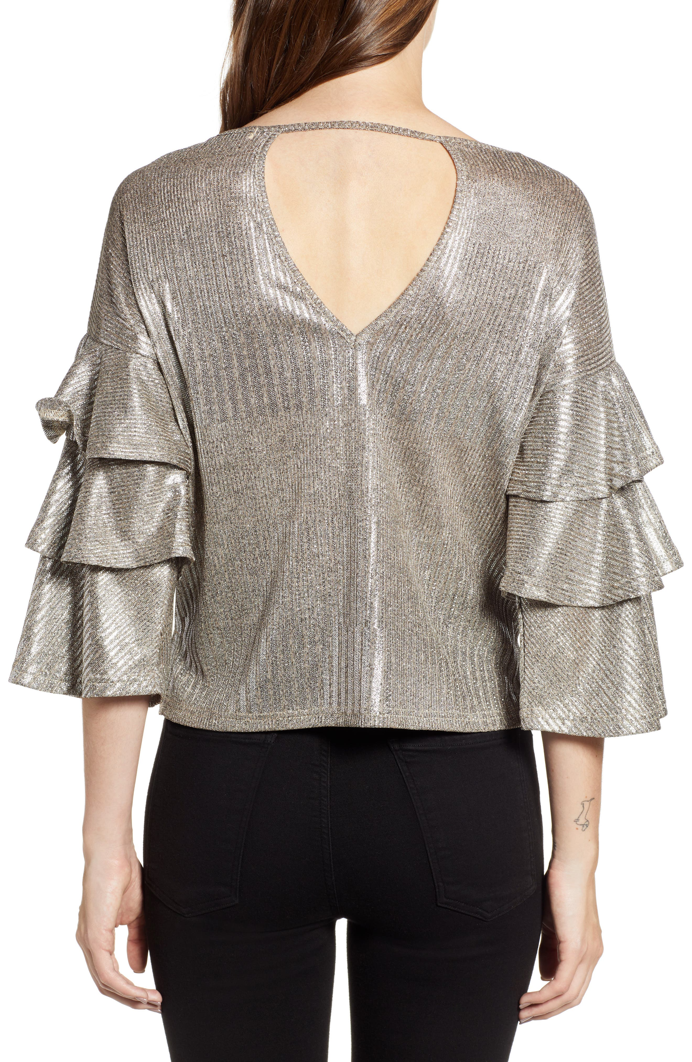 Metallic Tiered Ruffle Sleeve Top,                             Alternate thumbnail 2, color,                             METALLIC