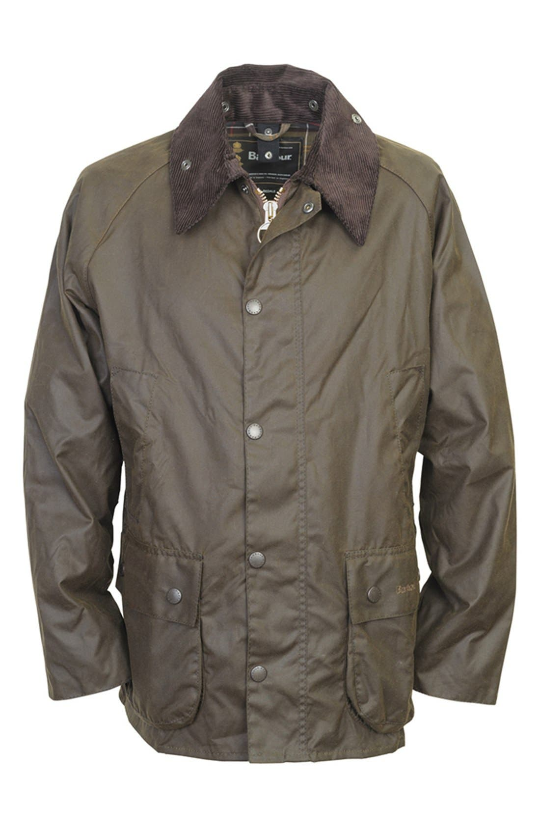 'Bedale' Relaxed Fit Waterproof Waxed Cotton Jacket,                             Alternate thumbnail 4, color,                             301