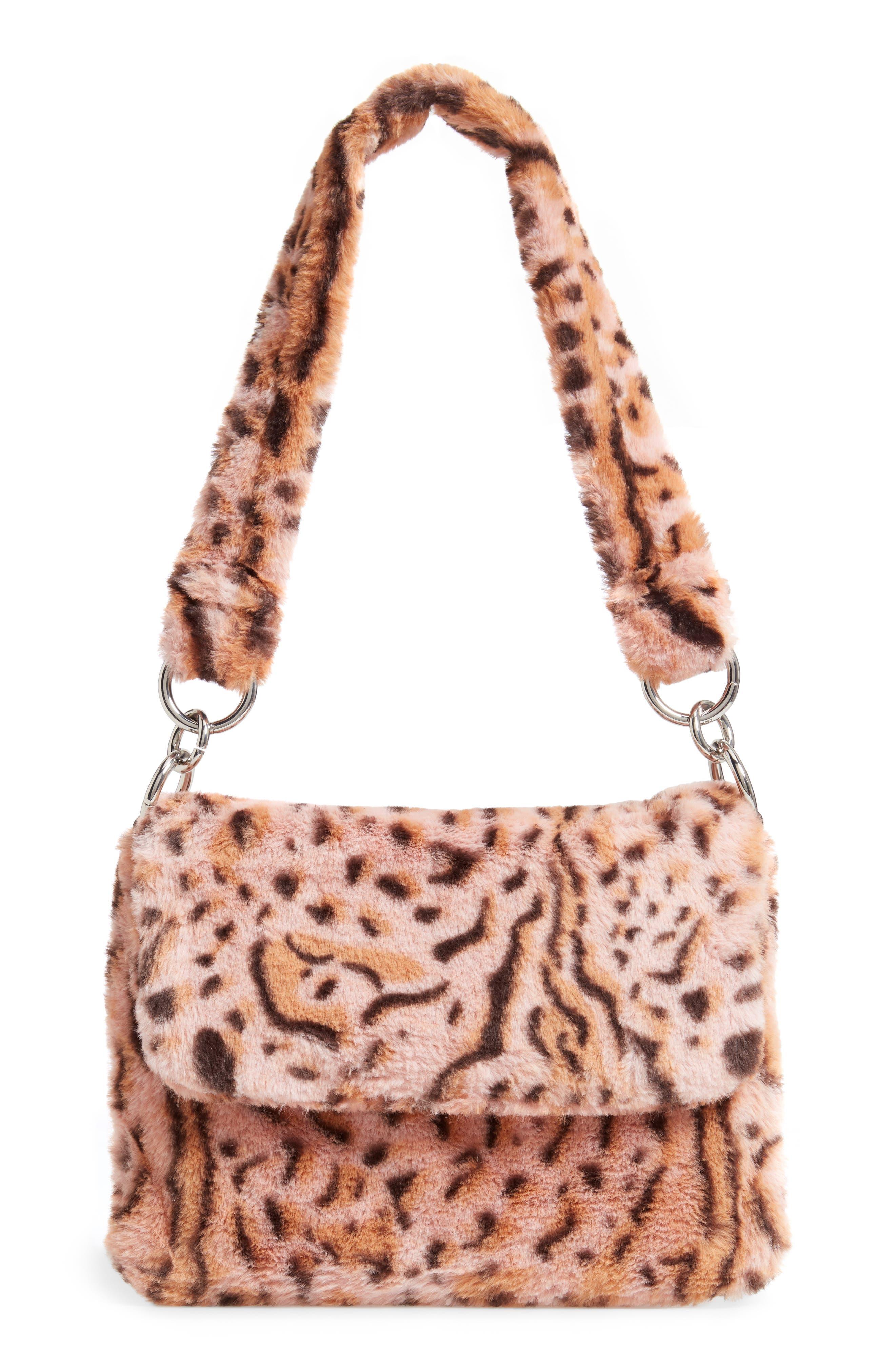 Teddy Leopard Print Faux Fur Shoulder Bag,                         Main,                         color, 650