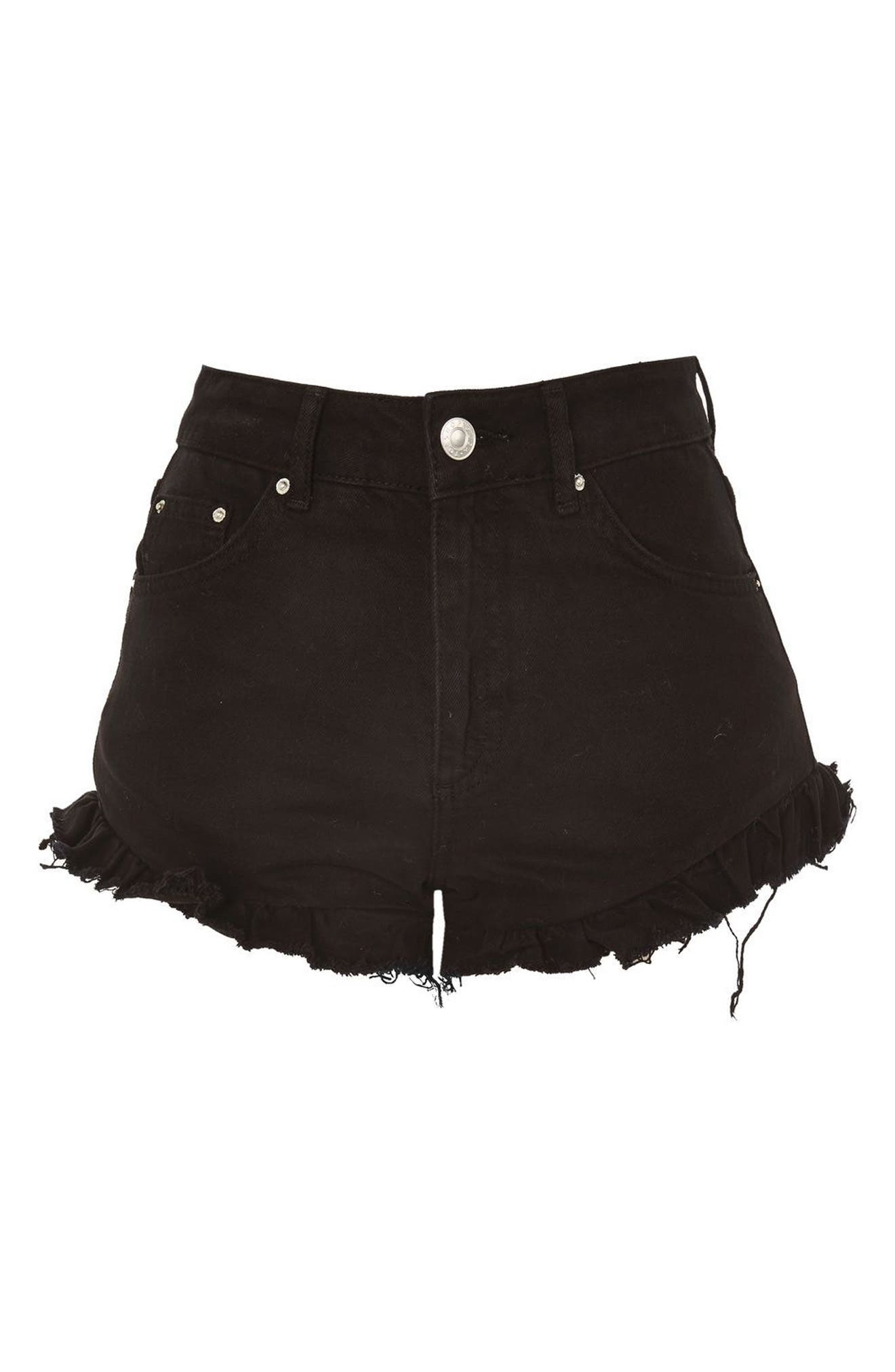 Kiri Ruffle Hem Denim Shorts,                             Alternate thumbnail 3, color,                             001