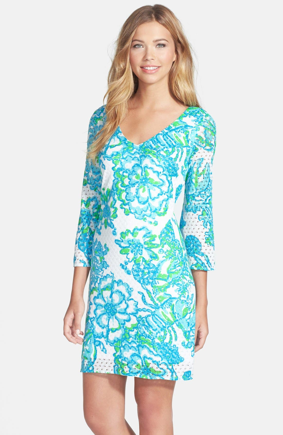 'Alden' Print Mesh Lace Shift Dress,                             Alternate thumbnail 2, color,                             440