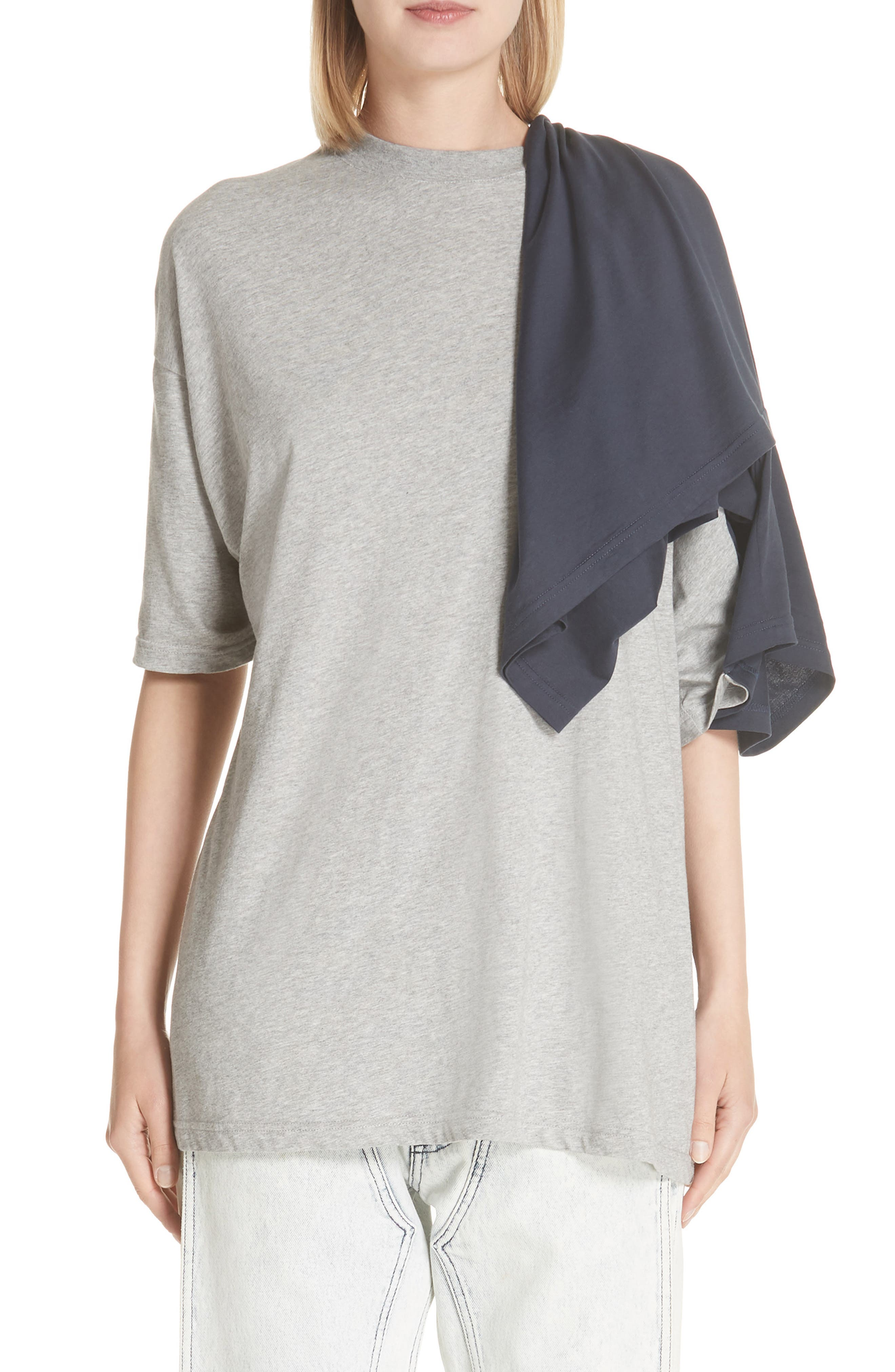 Doubled Short Sleeve Tee,                         Main,                         color, GRCHINE/ NAVY