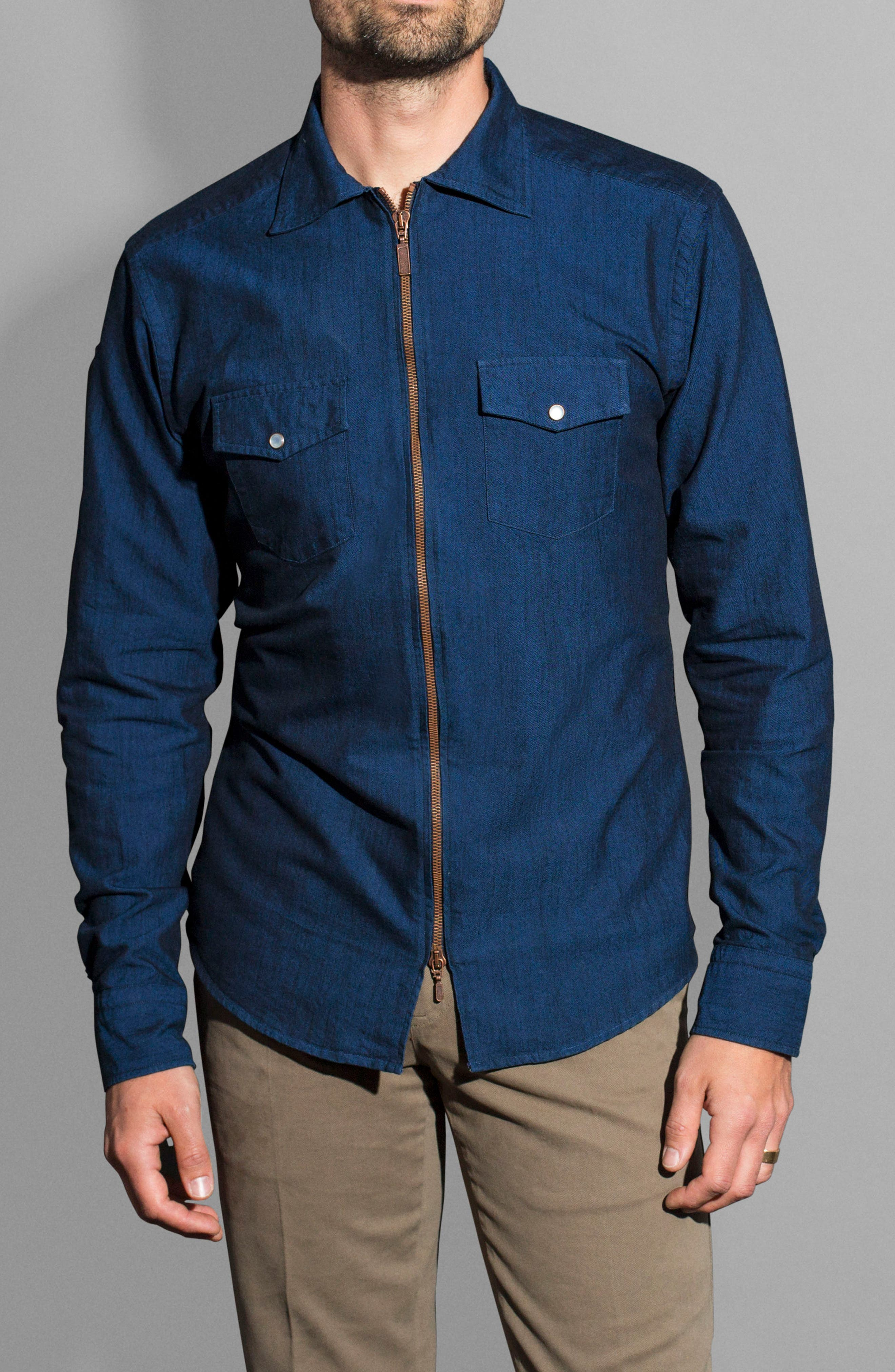 Slim Fit Chambray Zip Sport Shirt Jacket,                             Alternate thumbnail 4, color,                             400