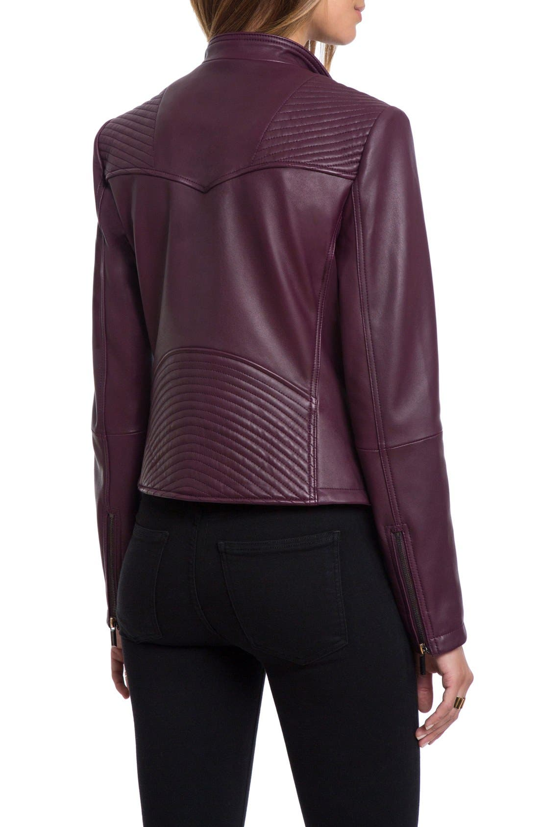 Bagatelle Quilted Lambskin Leather Moto Jacket,                             Alternate thumbnail 8, color,