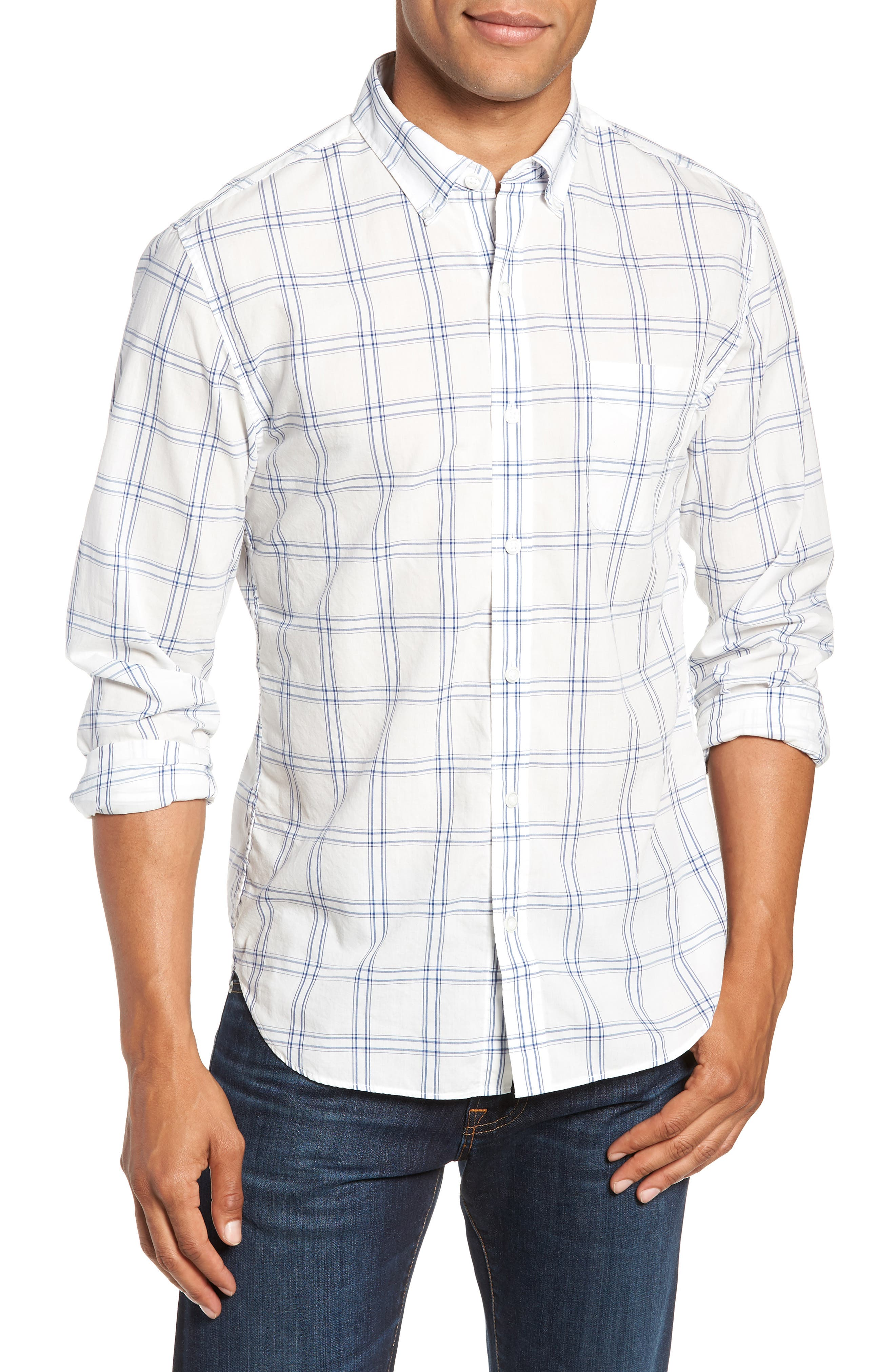 Summerweight Slim Fit Plaid Sport Shirt,                             Main thumbnail 1, color,                             100