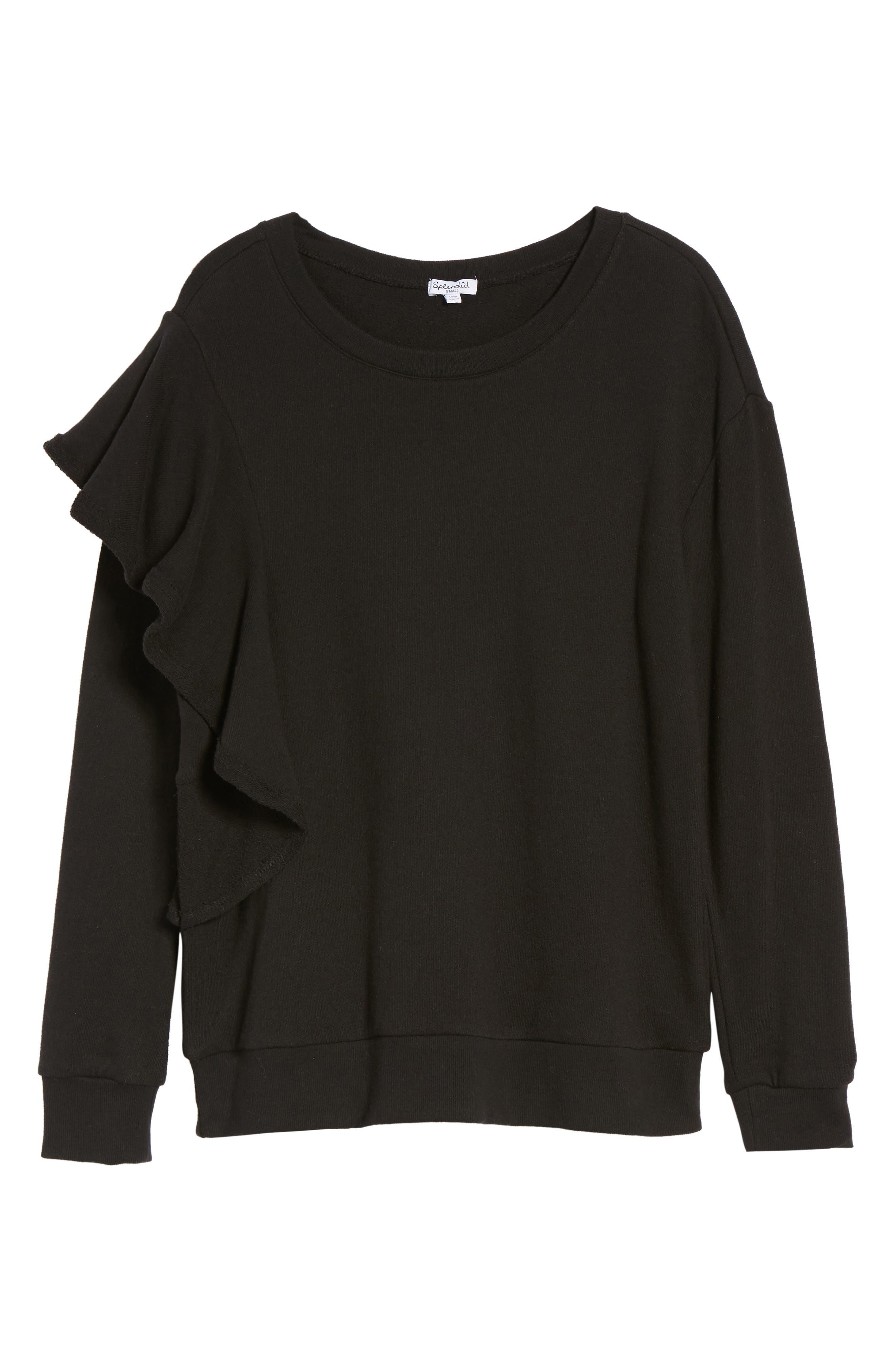 West Fourth Ruffle Sweatshirt,                             Alternate thumbnail 6, color,                             001