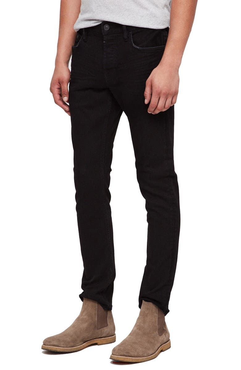Allsaints Cigarette Ripped & Repaired Straight Leg Jeans In Black