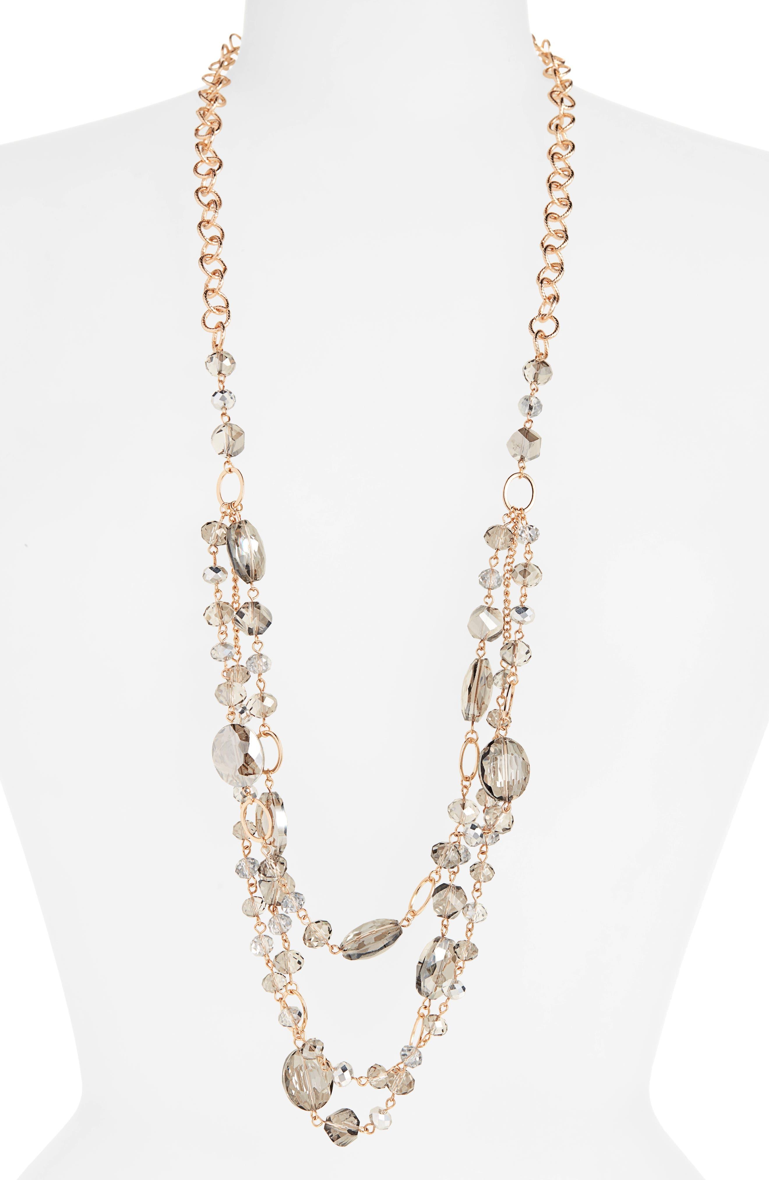 STELLA + RUBY Jolene Long Beaded Necklace in Gold/ Black