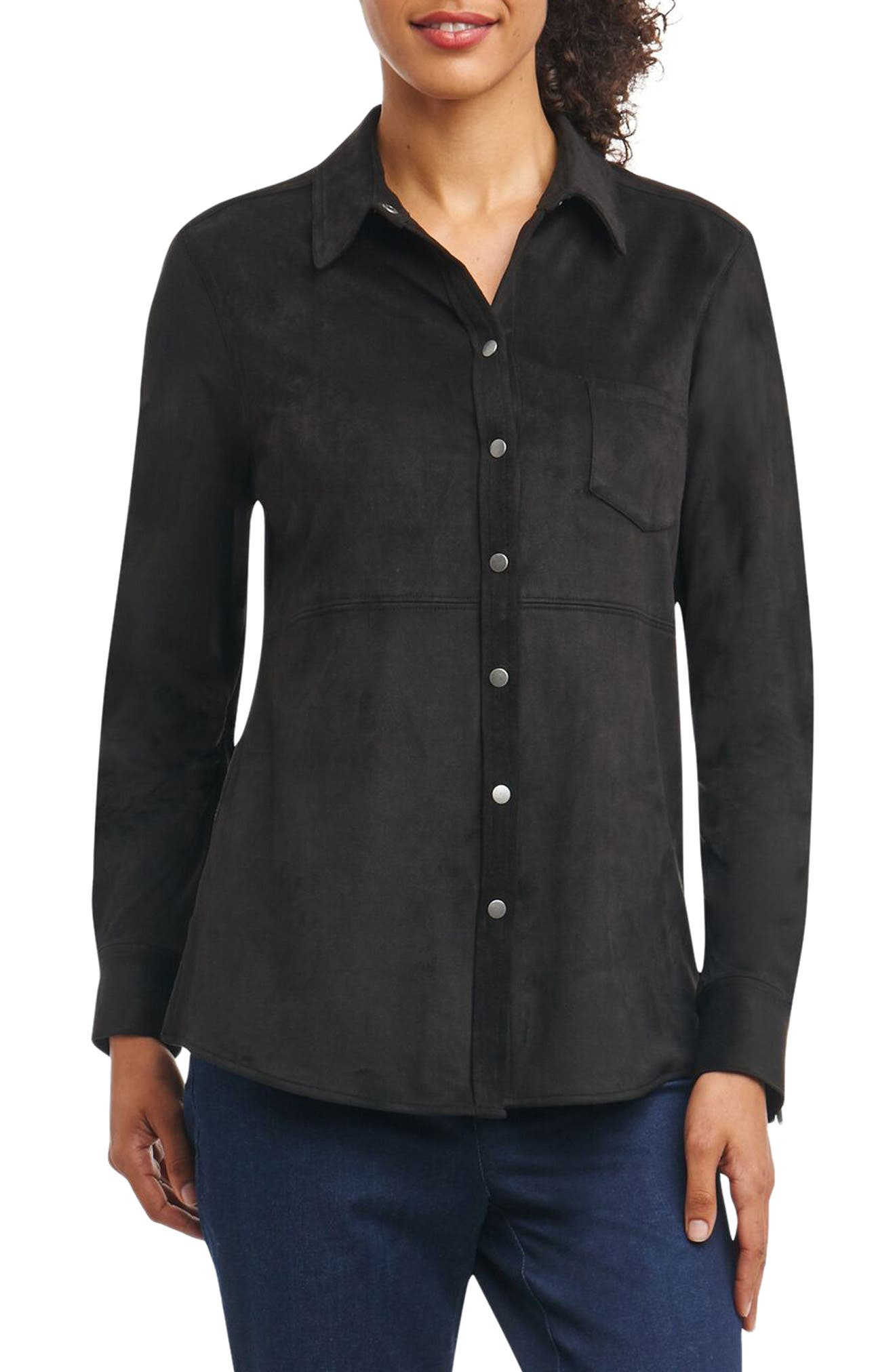 Jena Faux Suede Shirt,                         Main,                         color, 001
