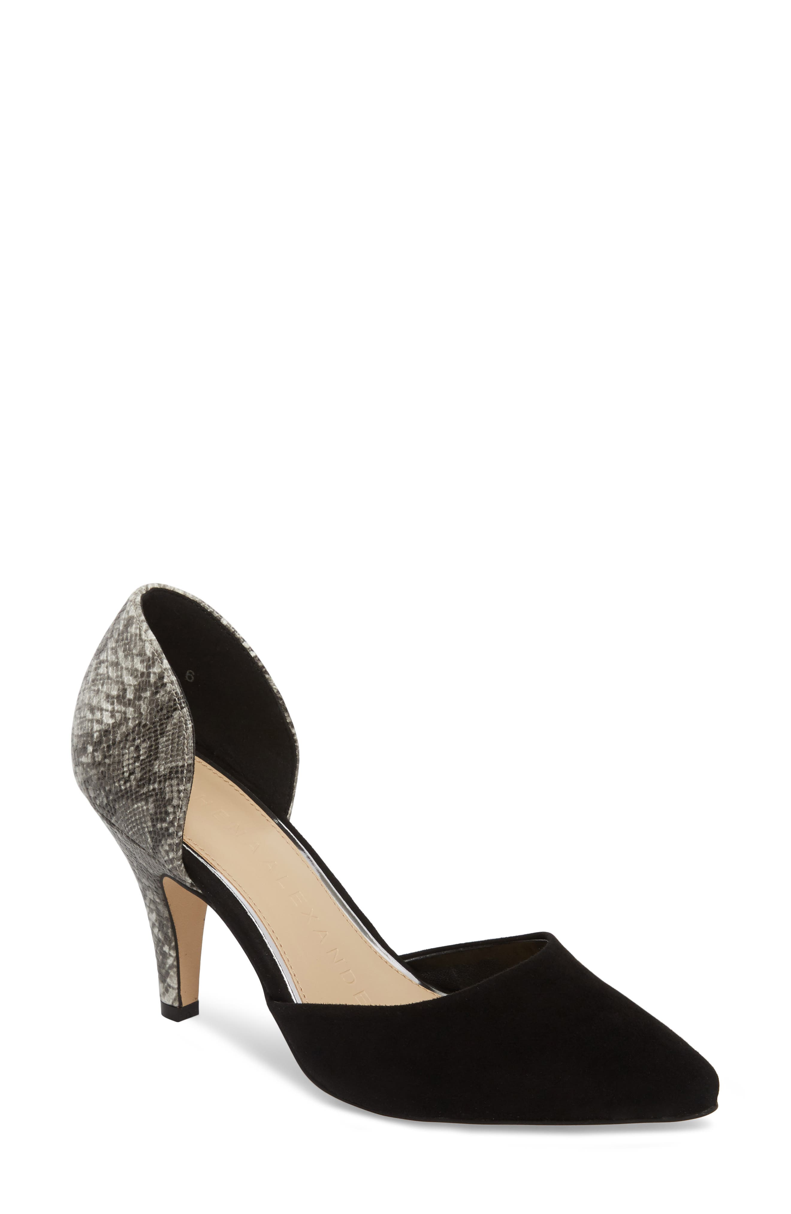 Groton d'Orsay Pump,                             Main thumbnail 1, color,                             BLACK SUEDE