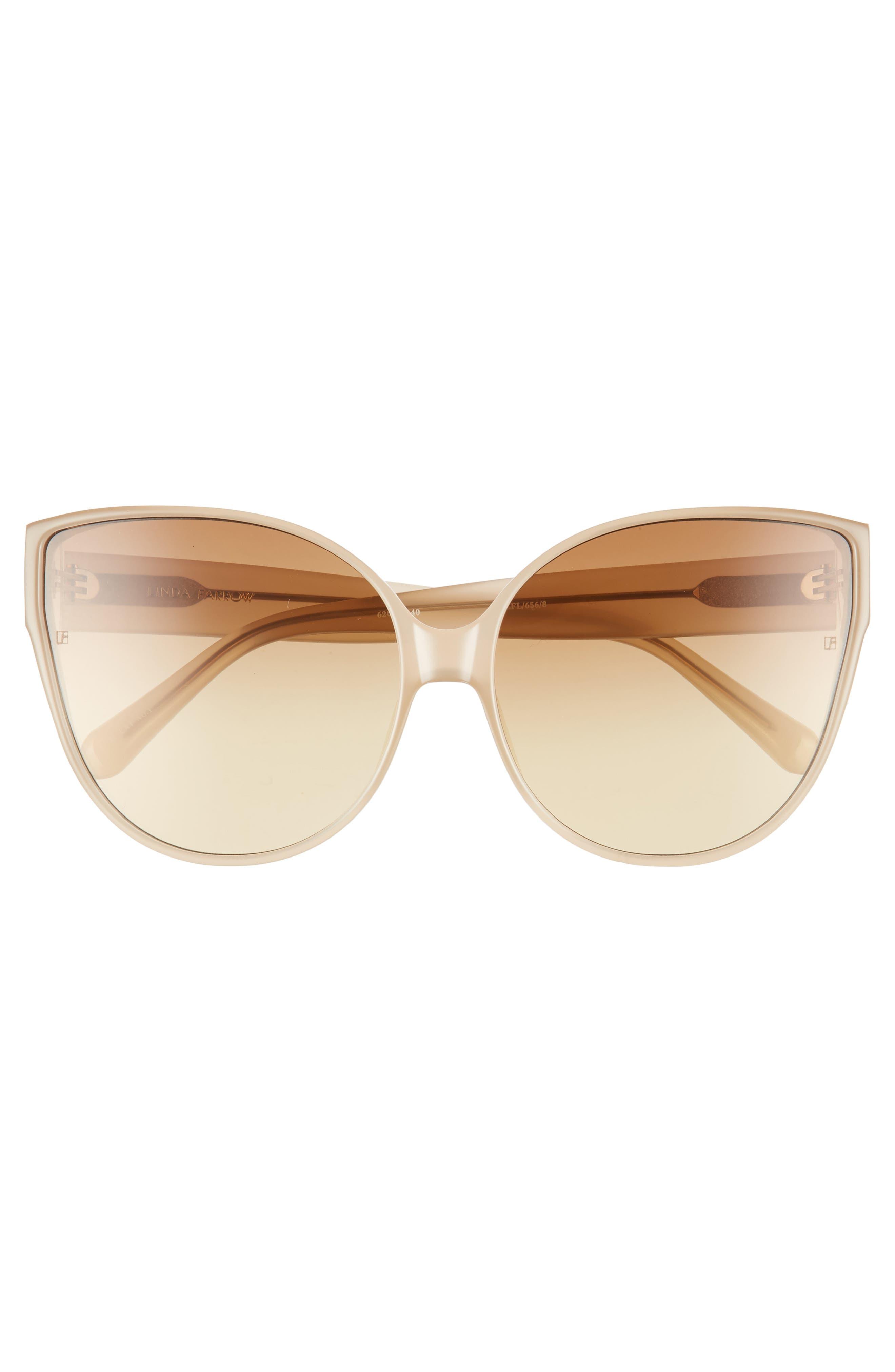 62mm Oversize Cat Eye Sunglasses,                             Alternate thumbnail 3, color,                             MILKY TOBACCO